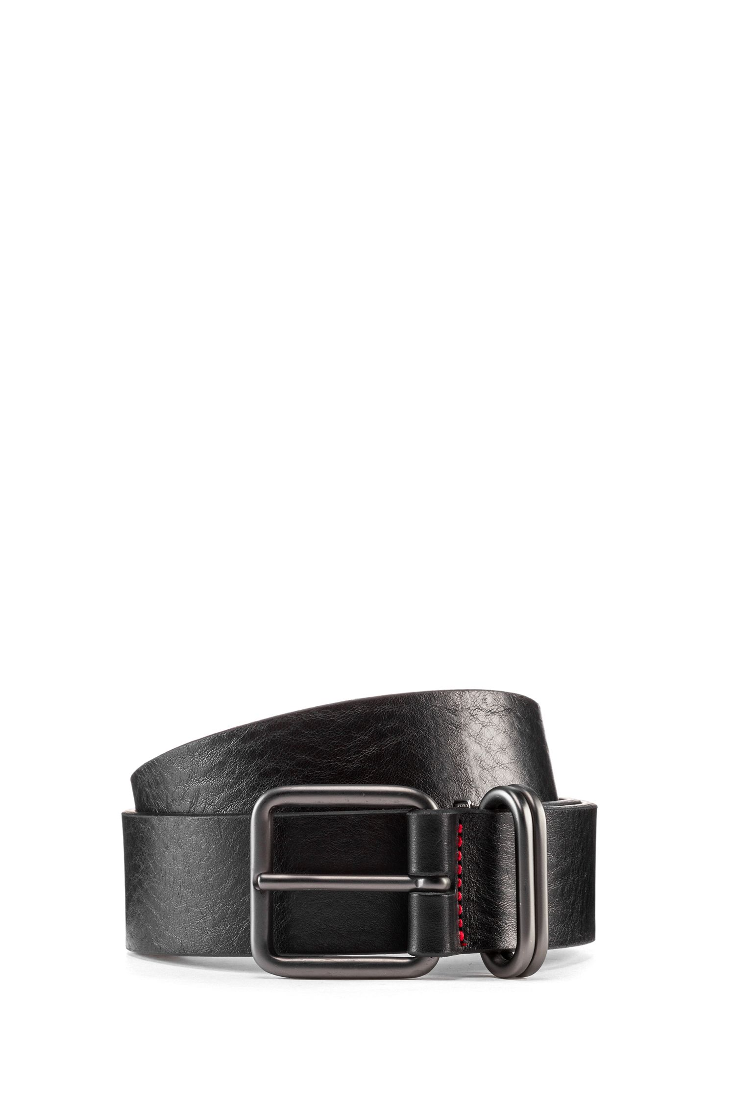 Smooth-leather belt with rounded matt-gunmetal hardware, Black