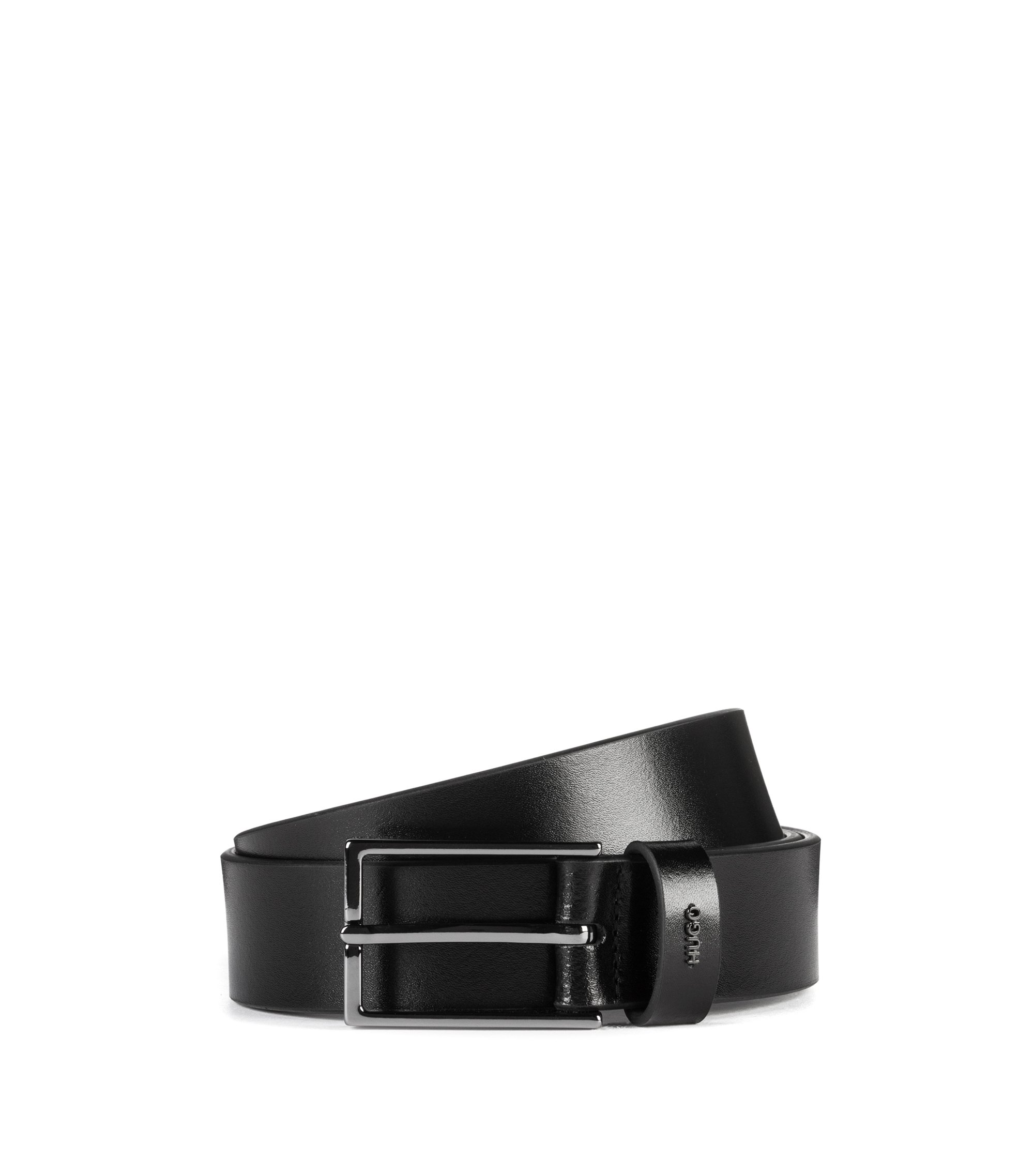 Belt in smooth leather with metallic logo lettering, Black