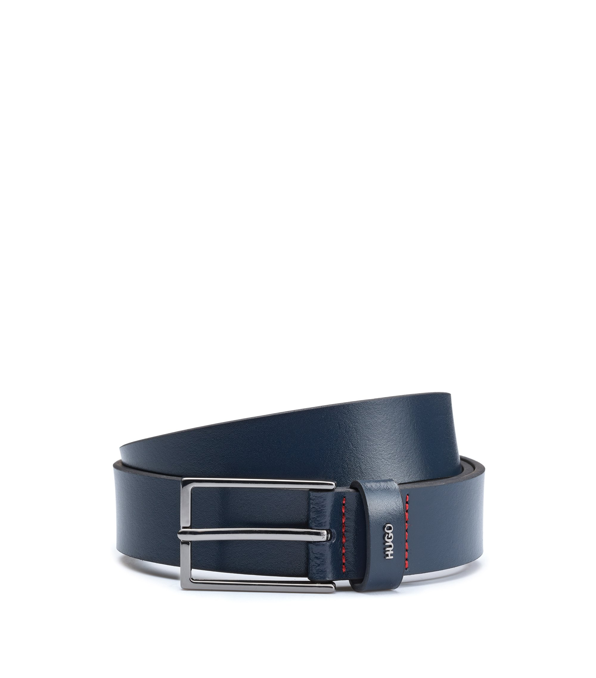 Belt in smooth leather with metallic logo lettering, Bleu foncé