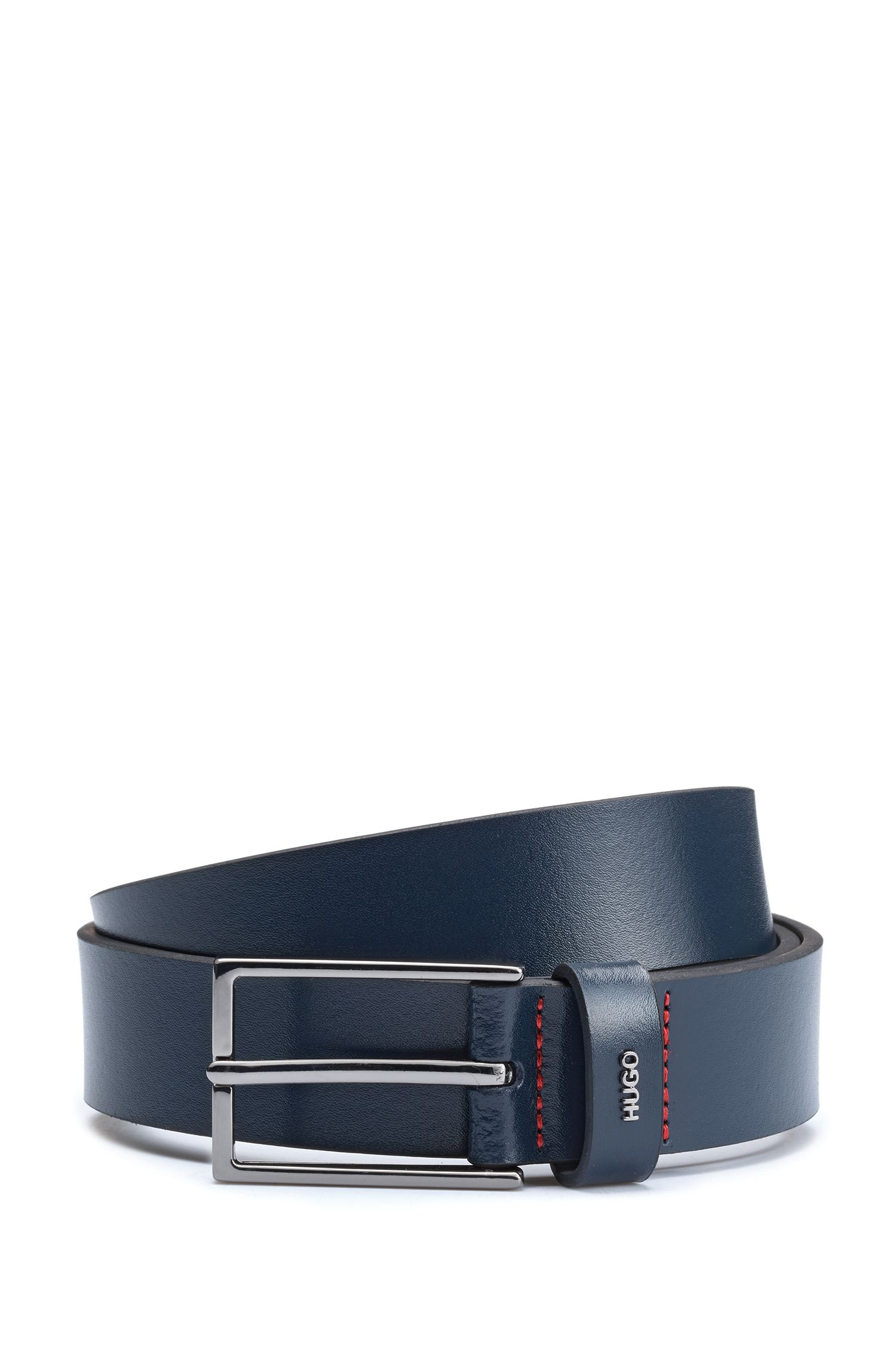 Belt in smooth leather with metallic logo lettering, Donkerblauw