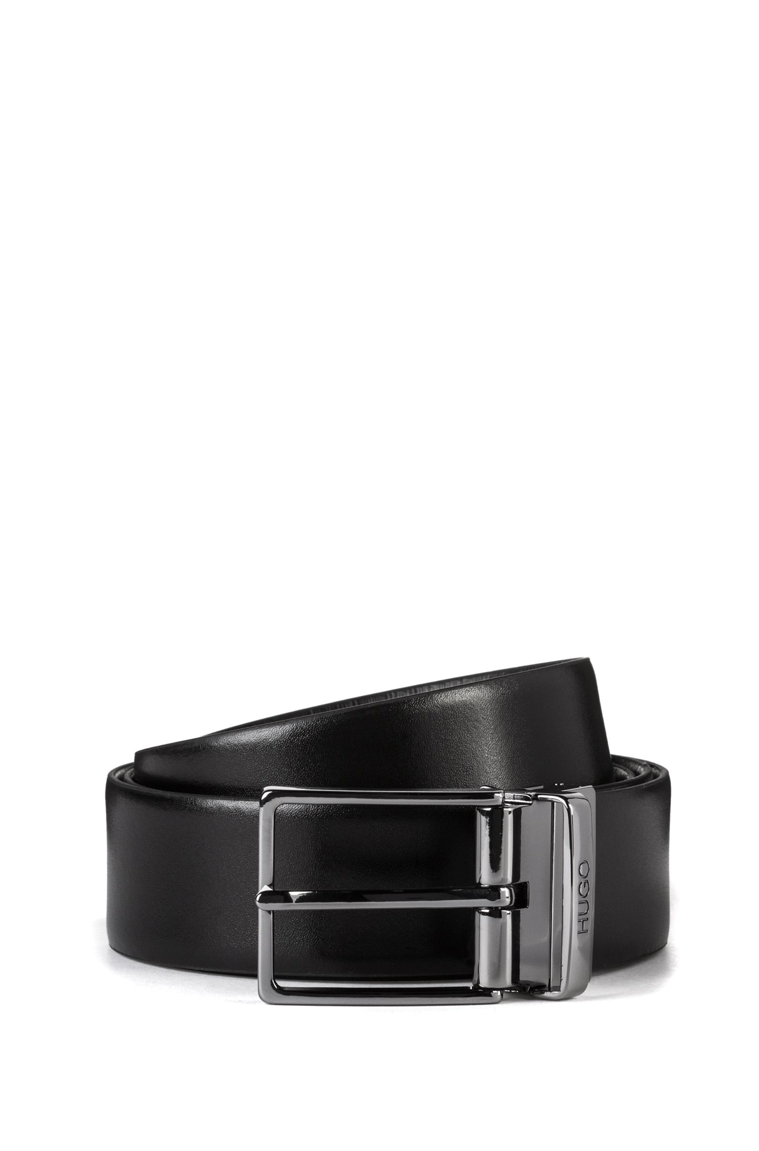 Smooth-leather belt with polished gunmetal buckle, Black