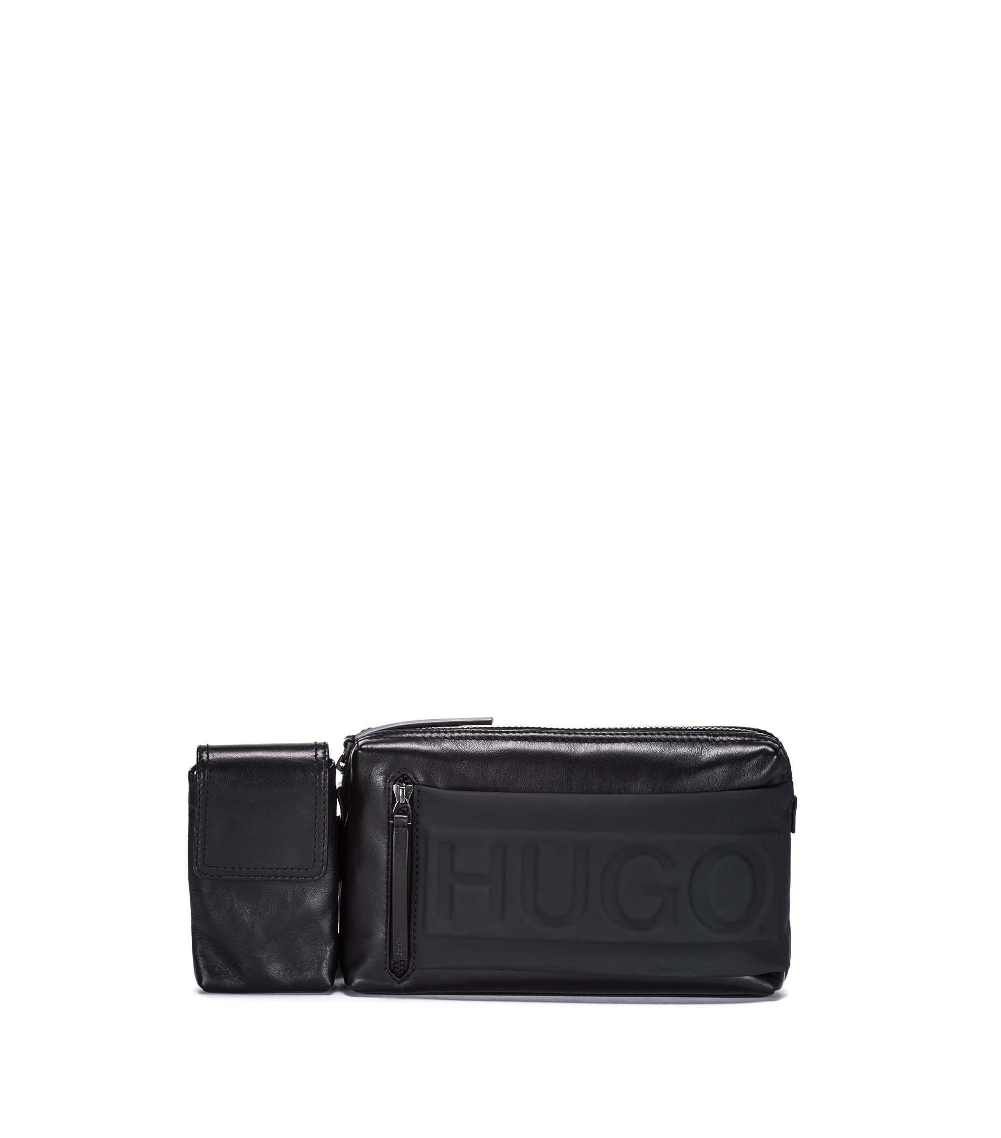 Leather belt bag with phone holder and embossed logo, Black