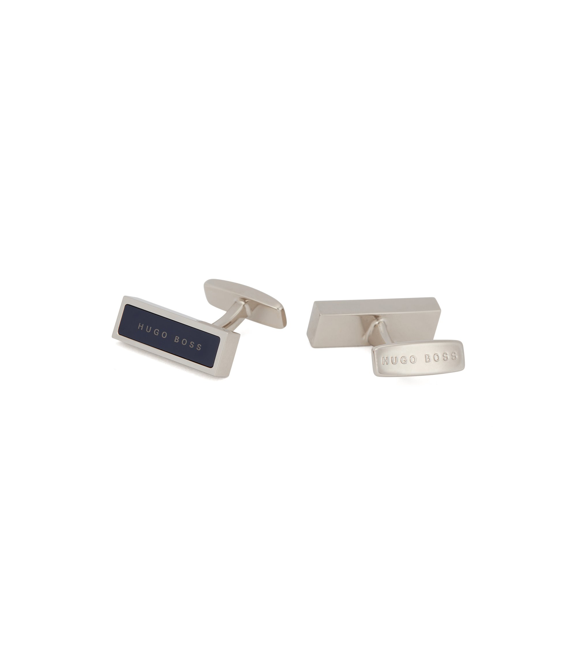 Rectangular cufflinks with logo-detailed enamel inset, Dark Blue