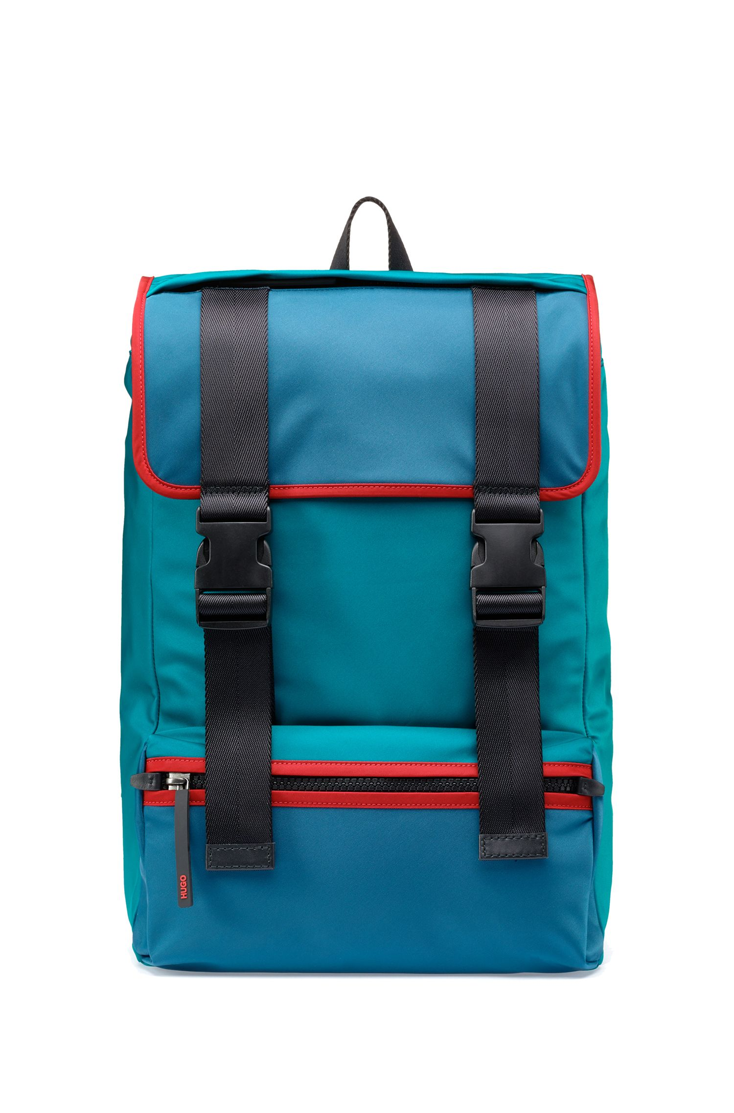 Nylon gabardine backpack with leather trims, Dark Green