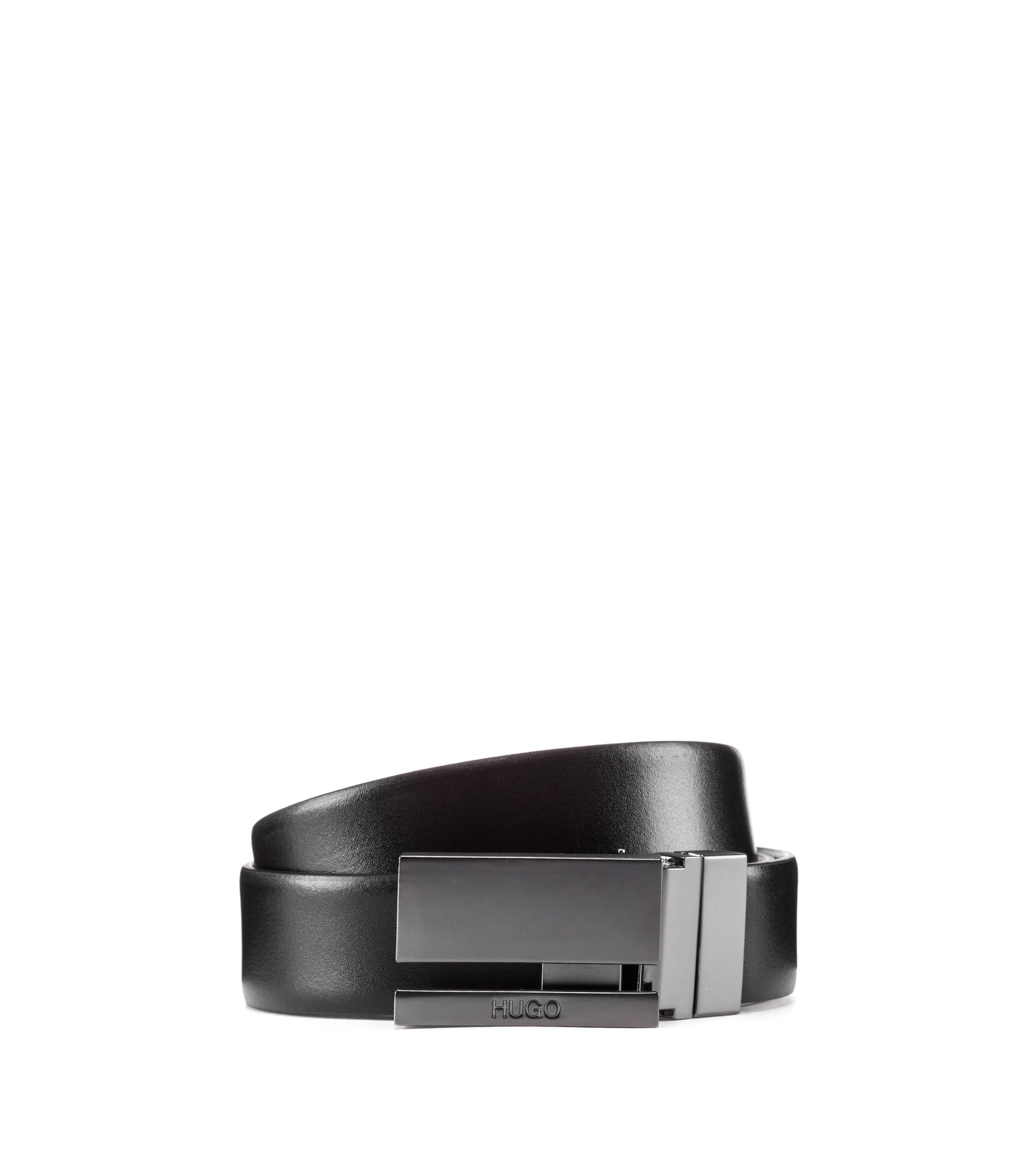 Smooth-leather belt with cutaway plaque in matt gunmetal, Black