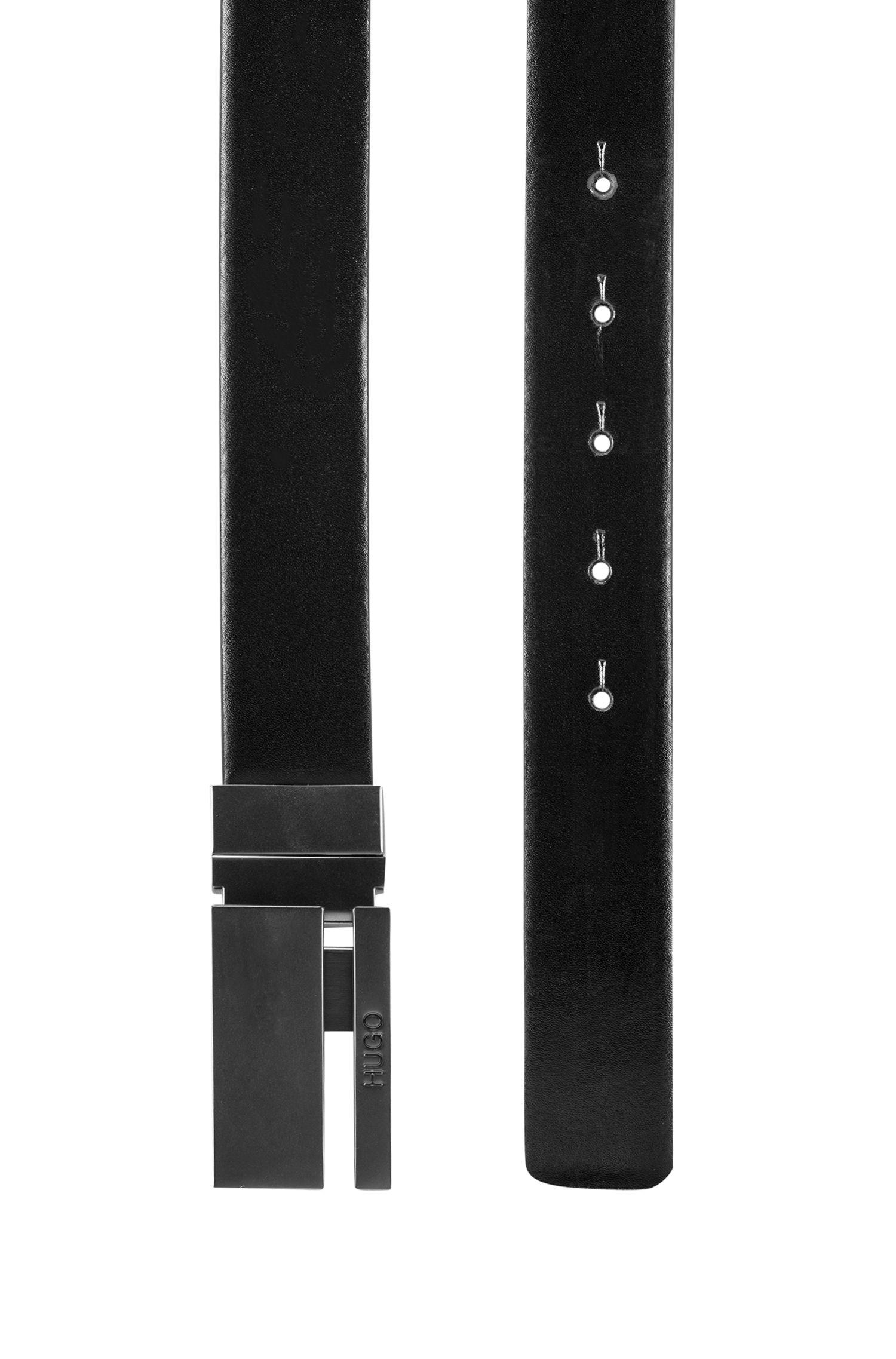 Gürtel aus Glattleder mit matter Koppelschließe mit Cut-Out, Schwarz