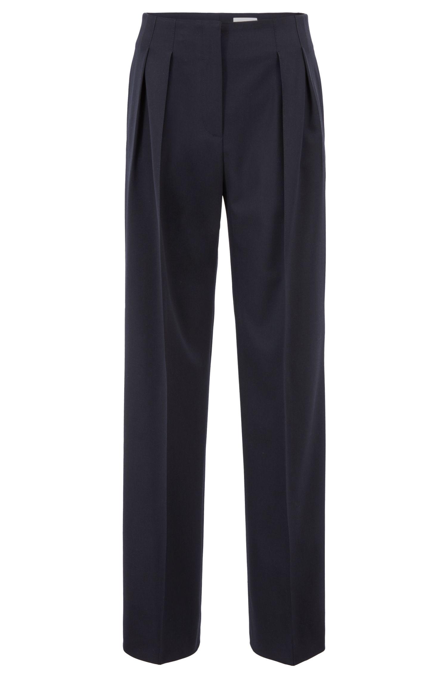Pantaloni a gamba larga della Collezione Gallery con vita stile Hollywood, Blu scuro