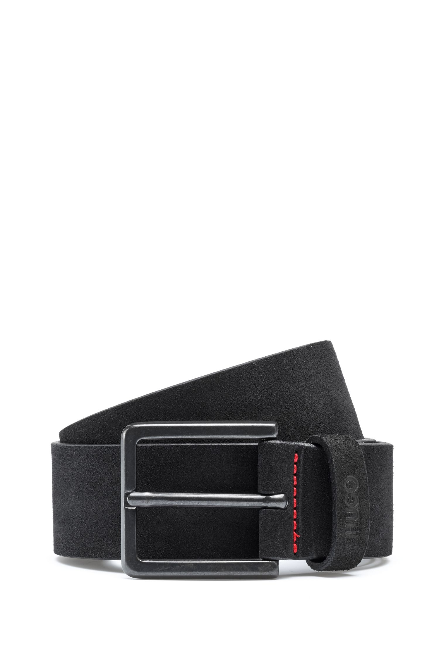 Suede belt with logo-embossed loop, Black