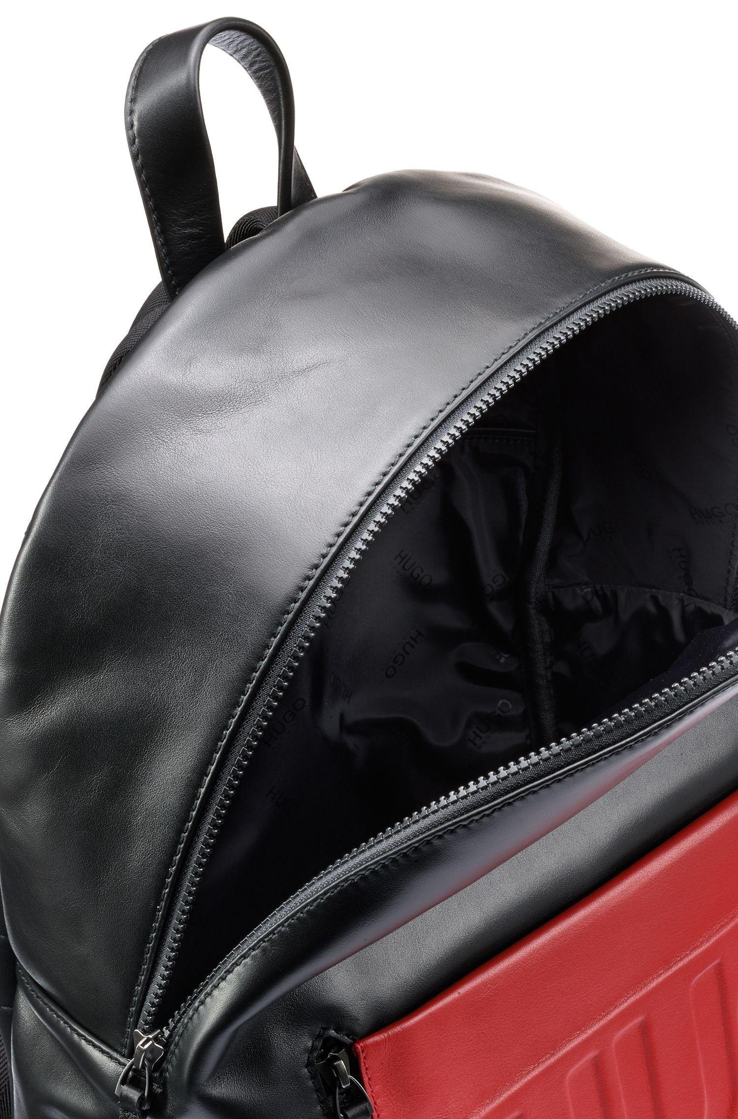 Sac à dos en cuir avec pochette en tissu à logo embossé, Noir