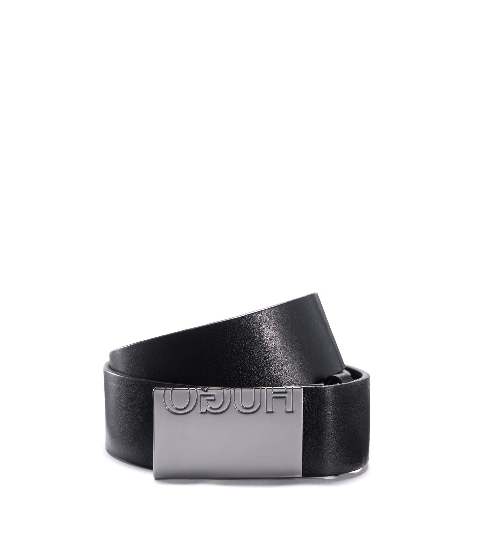 Leather belt with reverse-logo plaque buckle, Black