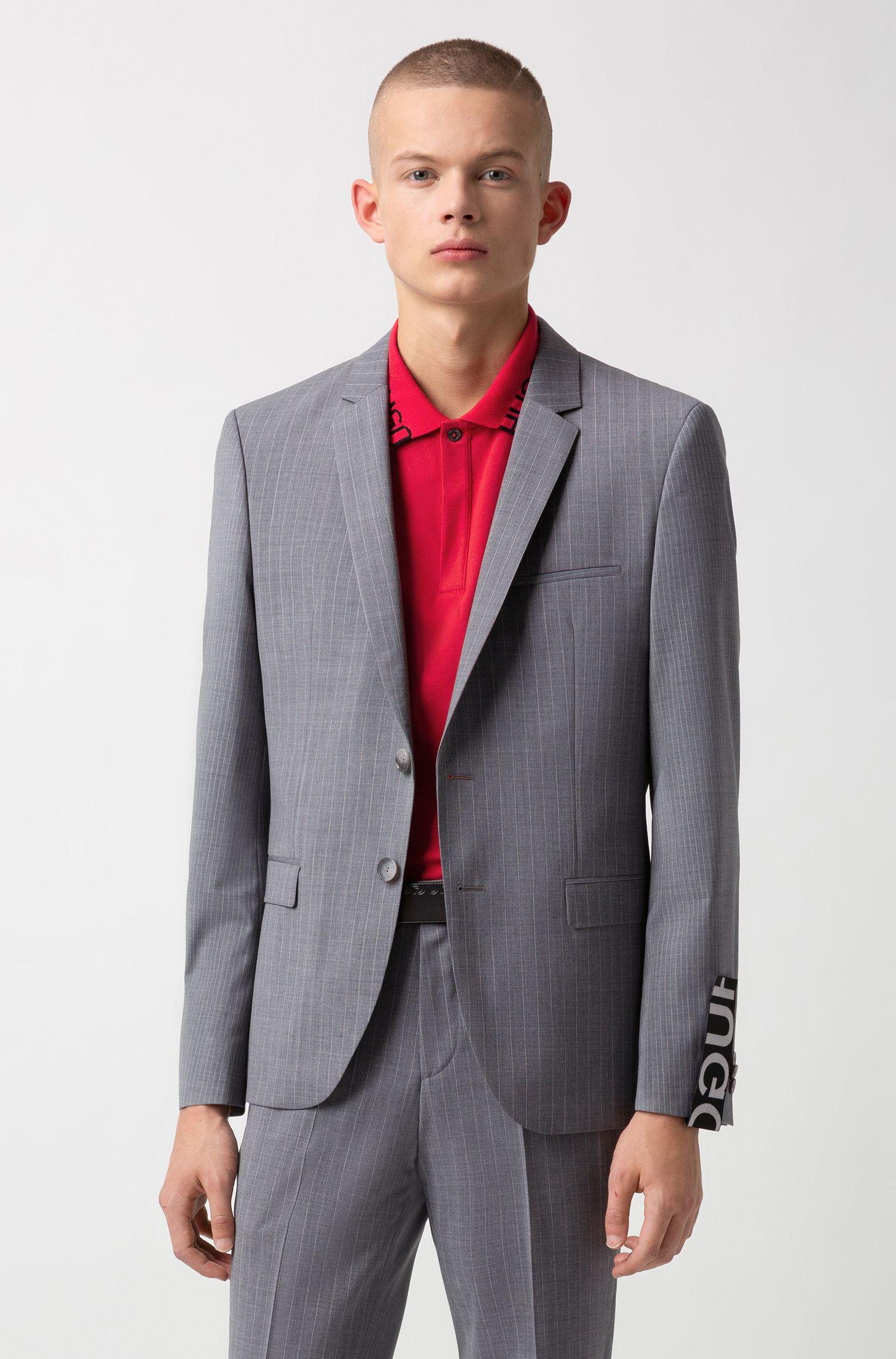 Cinturón de piel con hebilla con placa y logo invertido, Negro