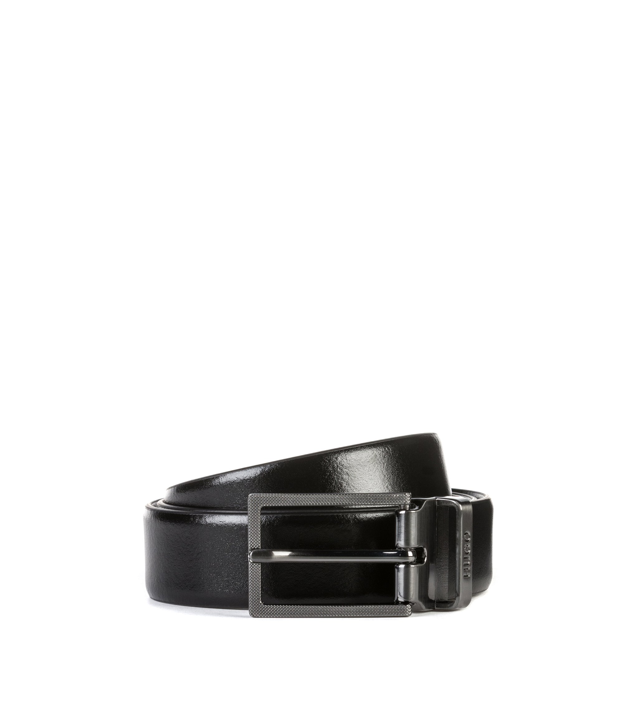 Smooth-leather belt with textured plaque and pin buckles, Black