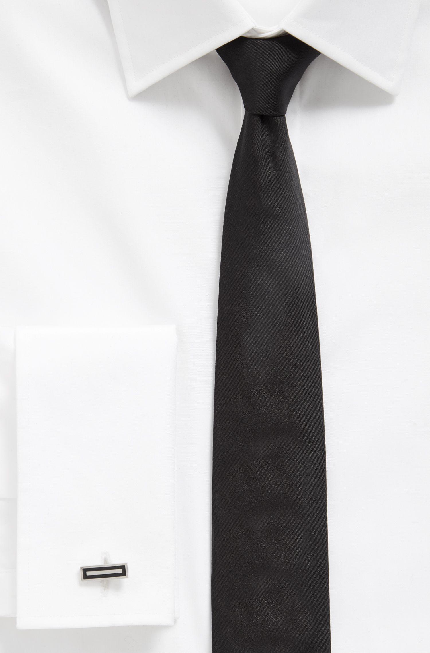 Rechteckige Manschettenknöpfe aus Messing mit Emaille- und Metall-Details, Schwarz