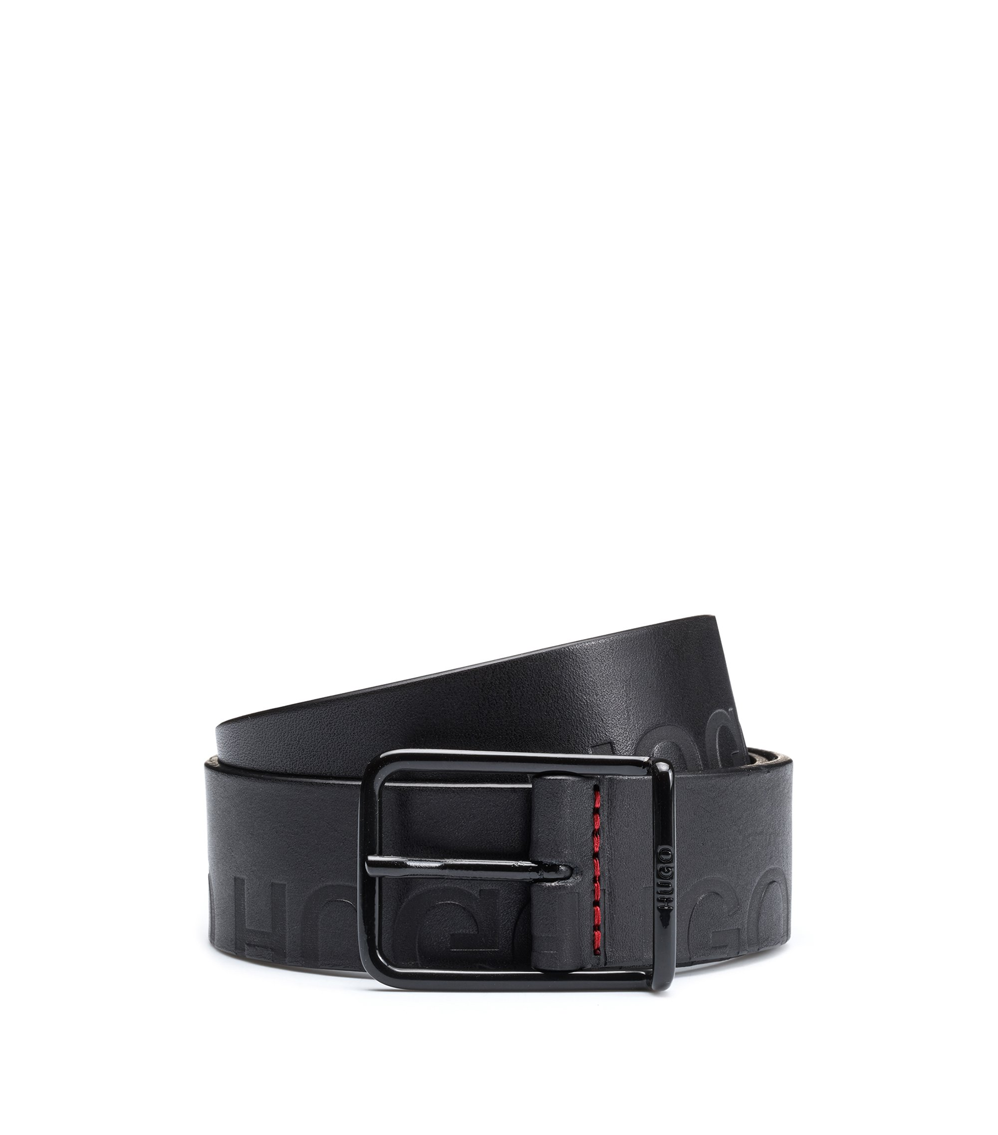 Leather belt with lasered logo detailing, Black
