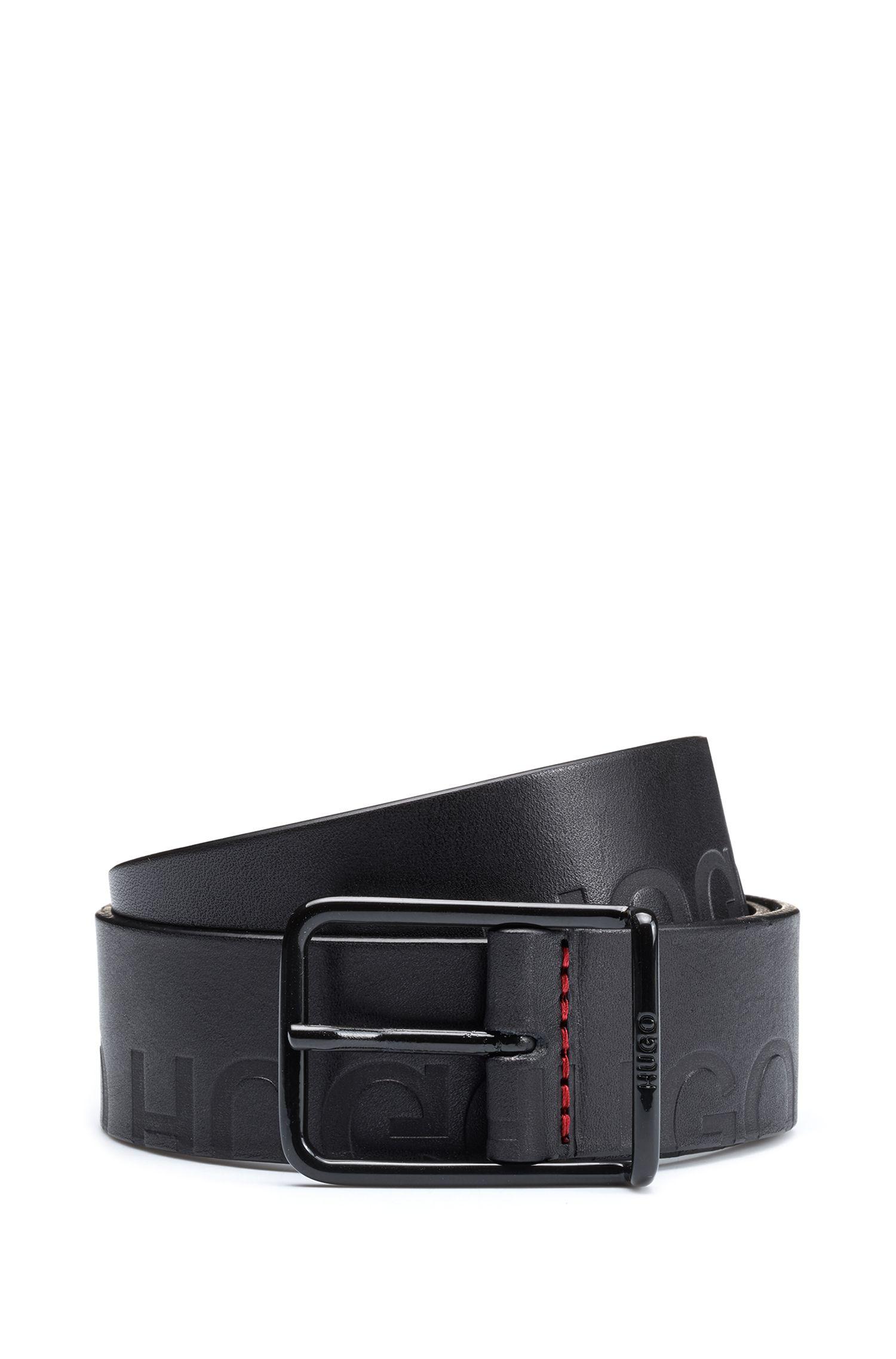 Cinturón de piel con detalle de logos al láser, Negro
