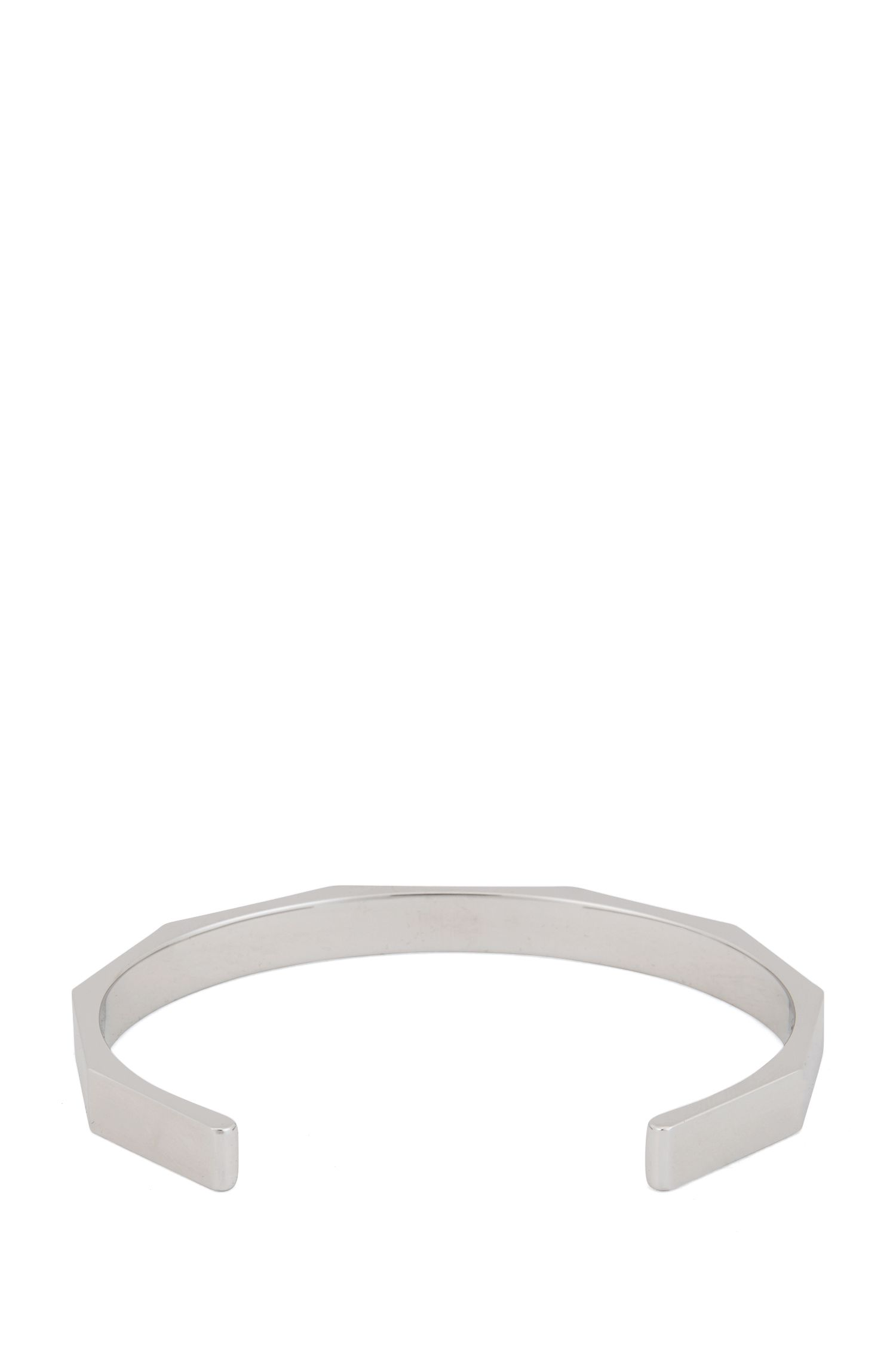 Logo-engraved angular cuff bracelet in brushed and polished brass, Silver