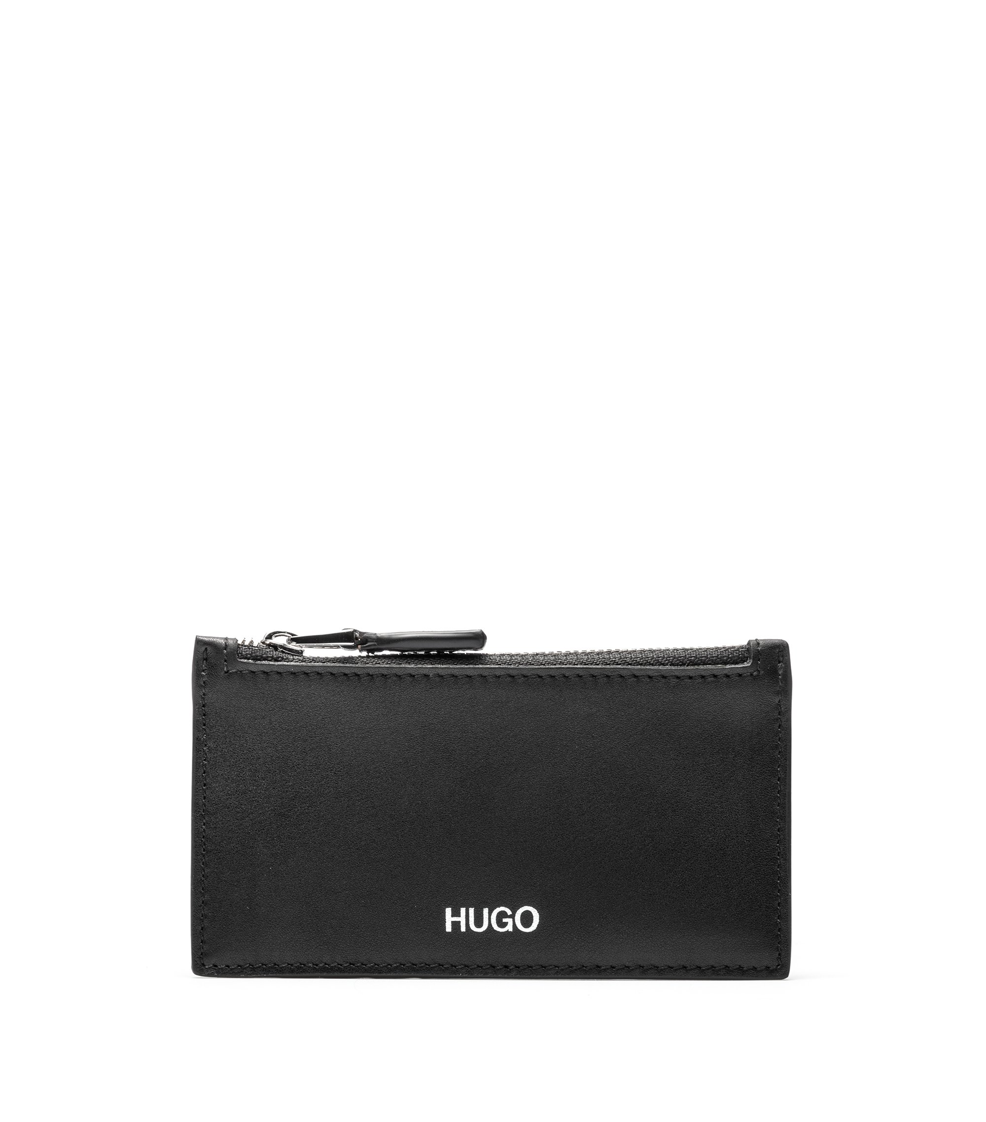 Nappa-leather card holder with zipped coin pocket, Schwarz