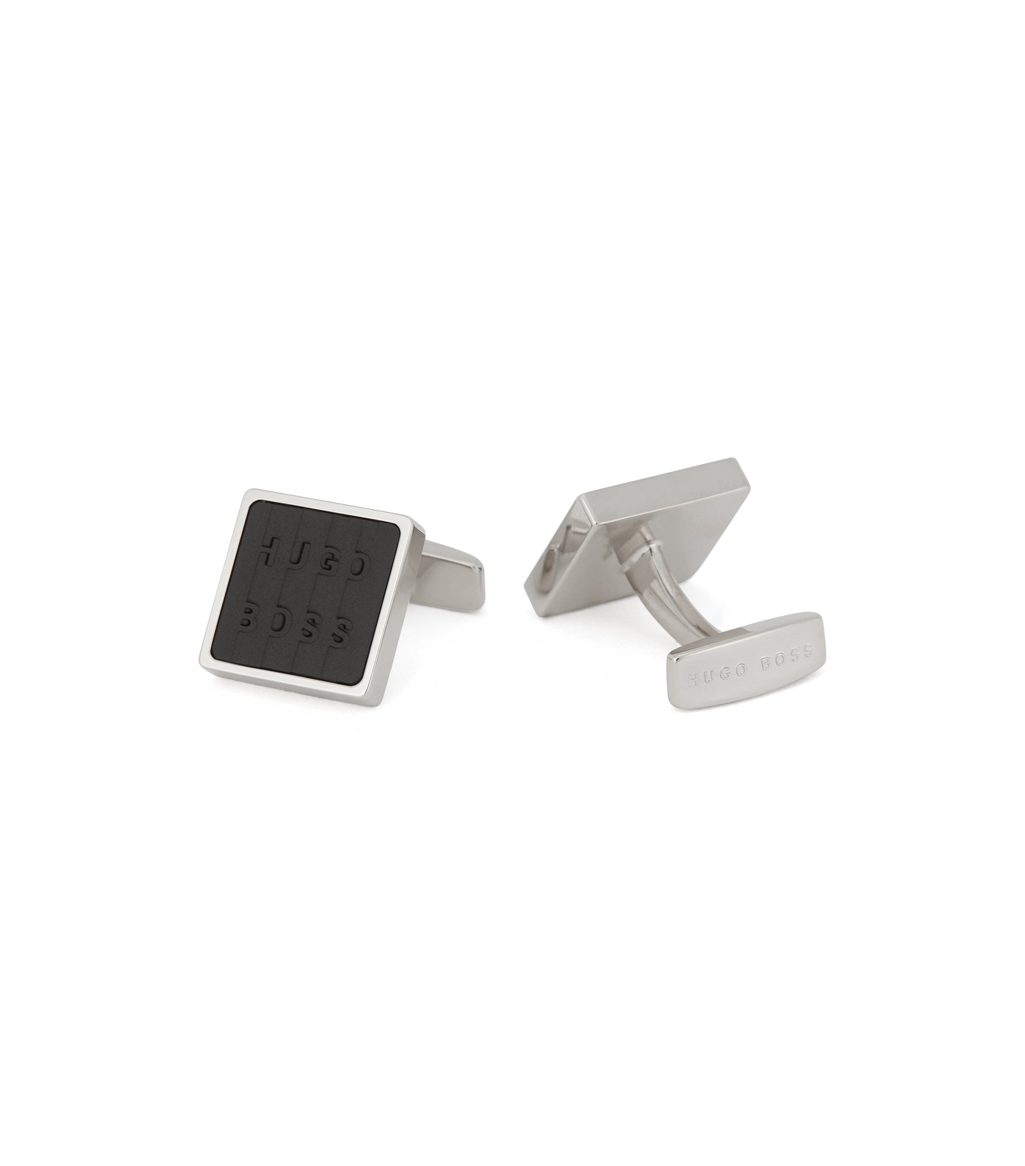 Hand-polished square cufflinks with enamel logo inlay, Black