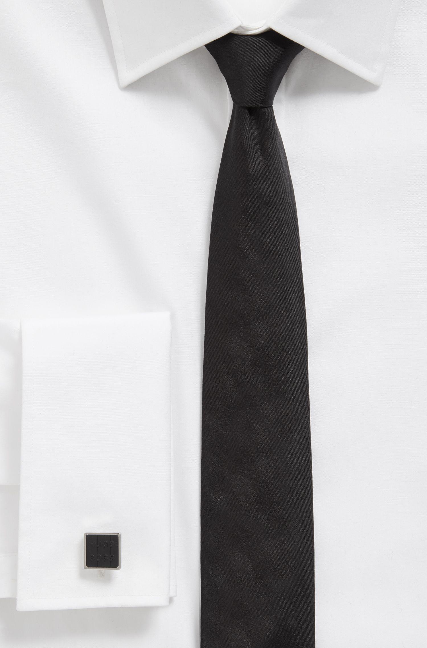 Handgepolijste, vierkante manchetknopen met inzet van email met logo, Zwart