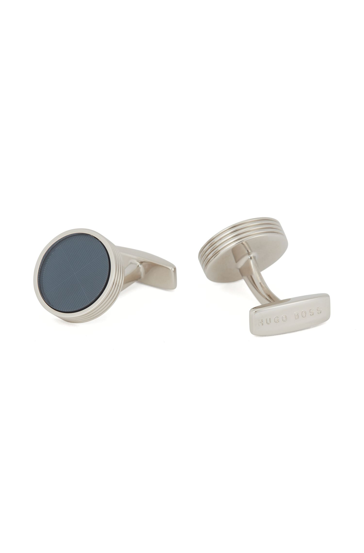 Hand-polished cufflinks with etched core, Blue