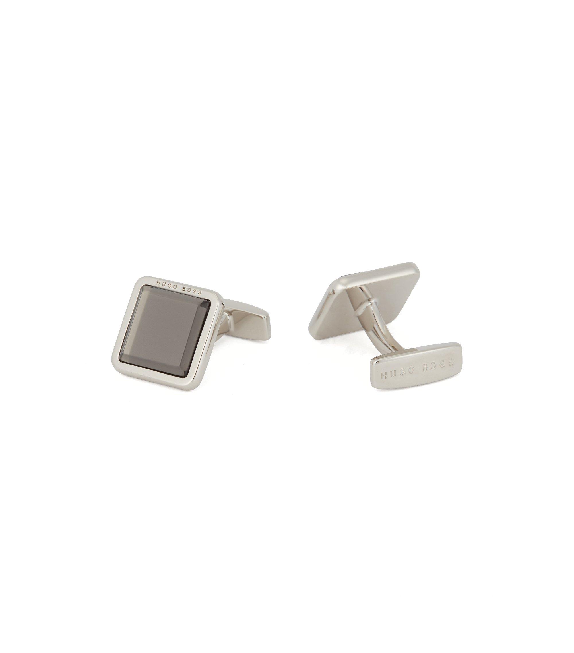 Hand-polished square cufflinks with raised enamel core, Dark Grey