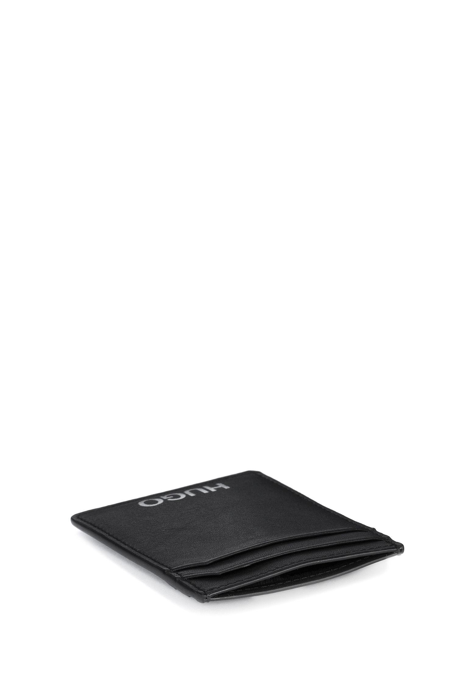Kartenetui aus Leder mit Geldscheinklammer, Schwarz