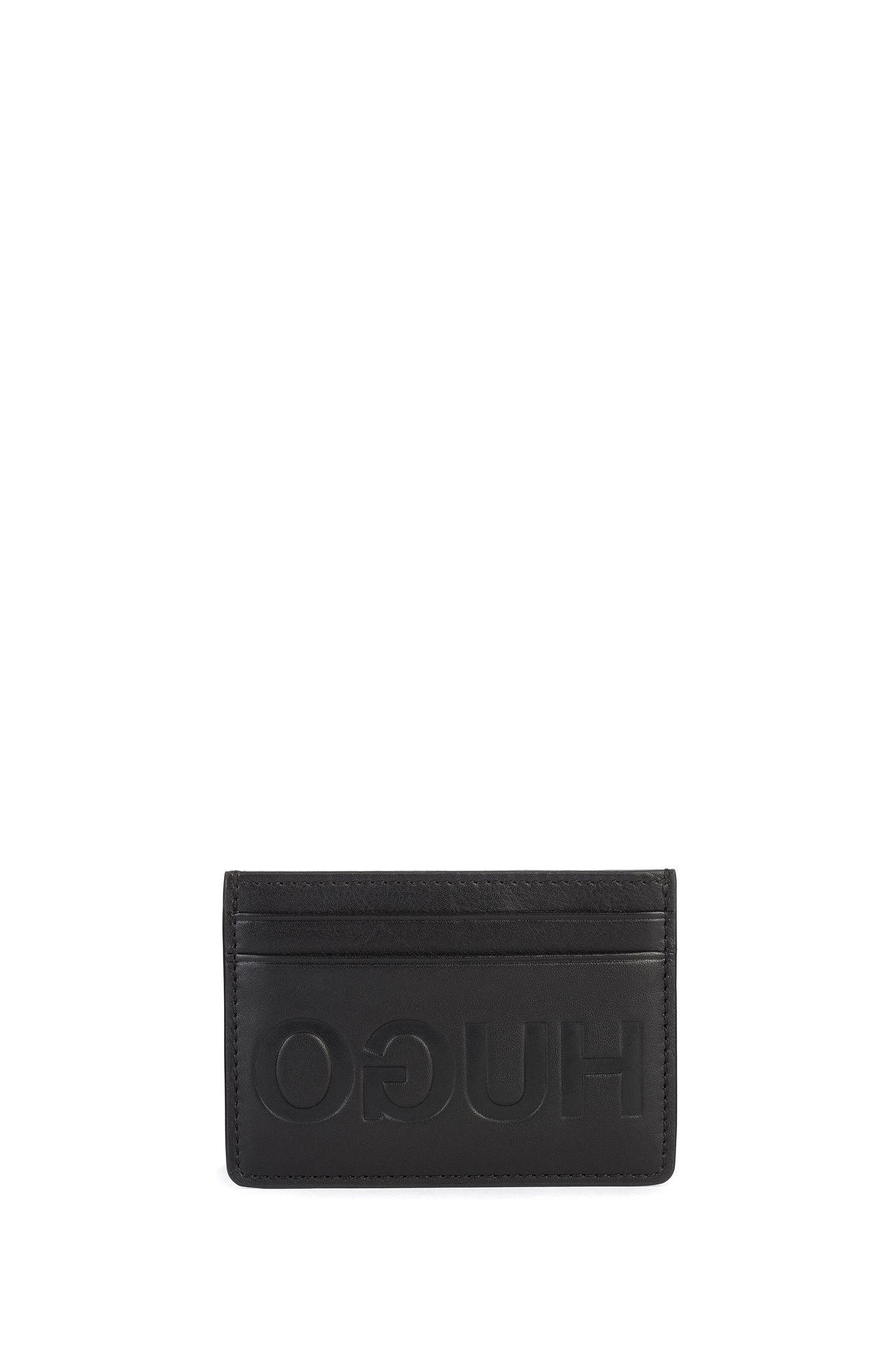 Geschenk-Set mit Kartenetui und Schlüsselanhänger aus Leder, Schwarz