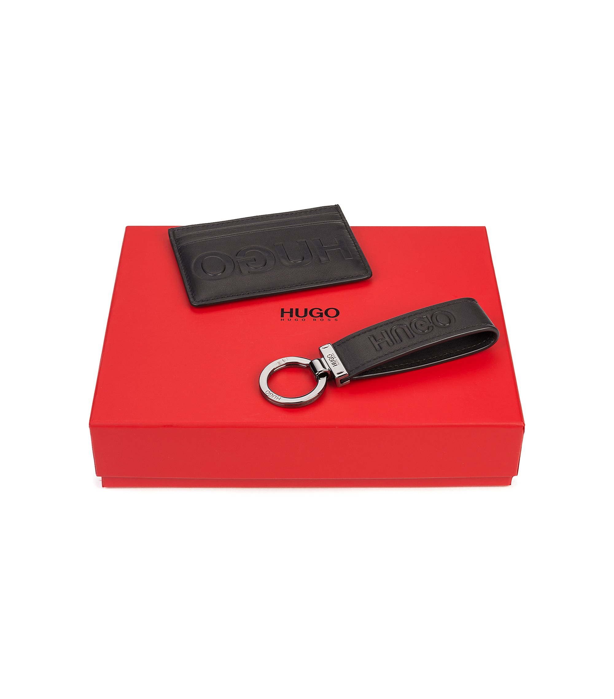Gift-boxed leather card holder and key ring, Black