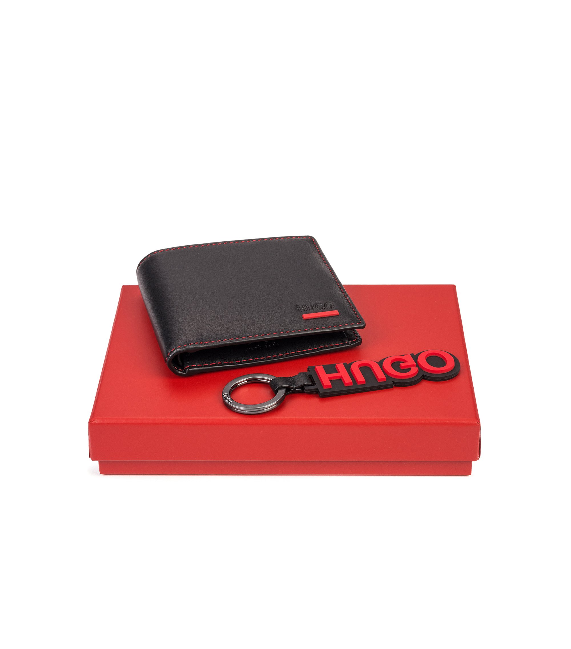 Gift-boxed wallet and reverse-logo key ring , Black