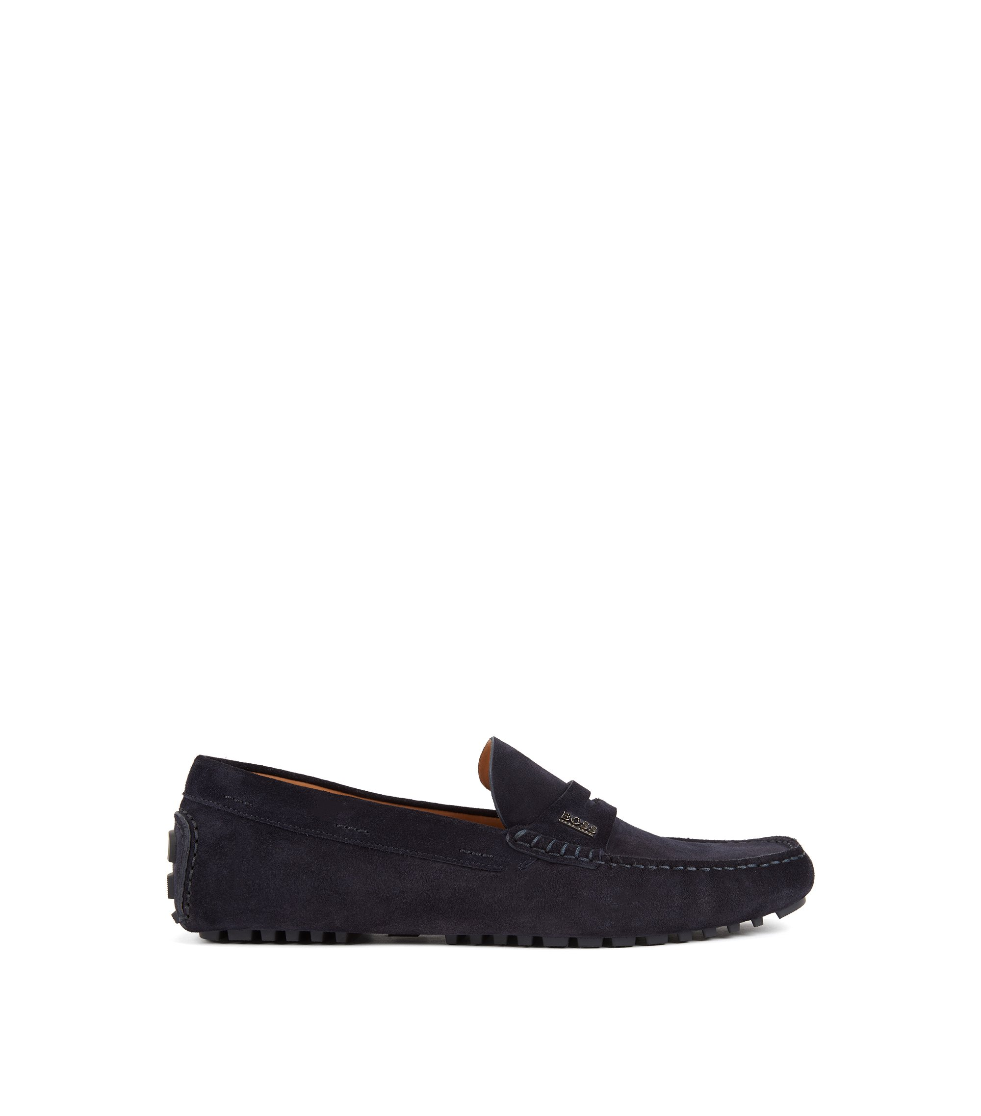 Italian-made driver moccasins in suede calf leather, Dark Blue