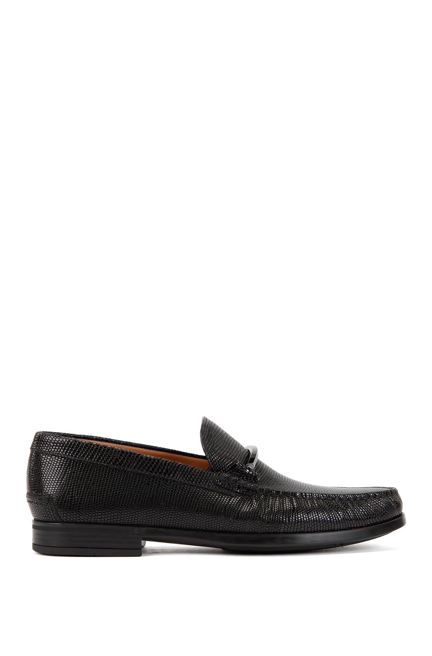 Italian-made moccasins with embossed calf-leather uppers, Black