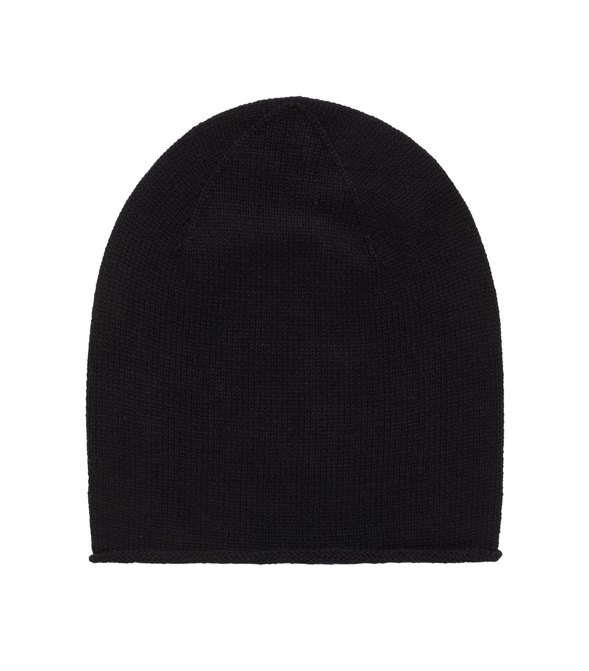 Beanie hat in mixed wools, Black