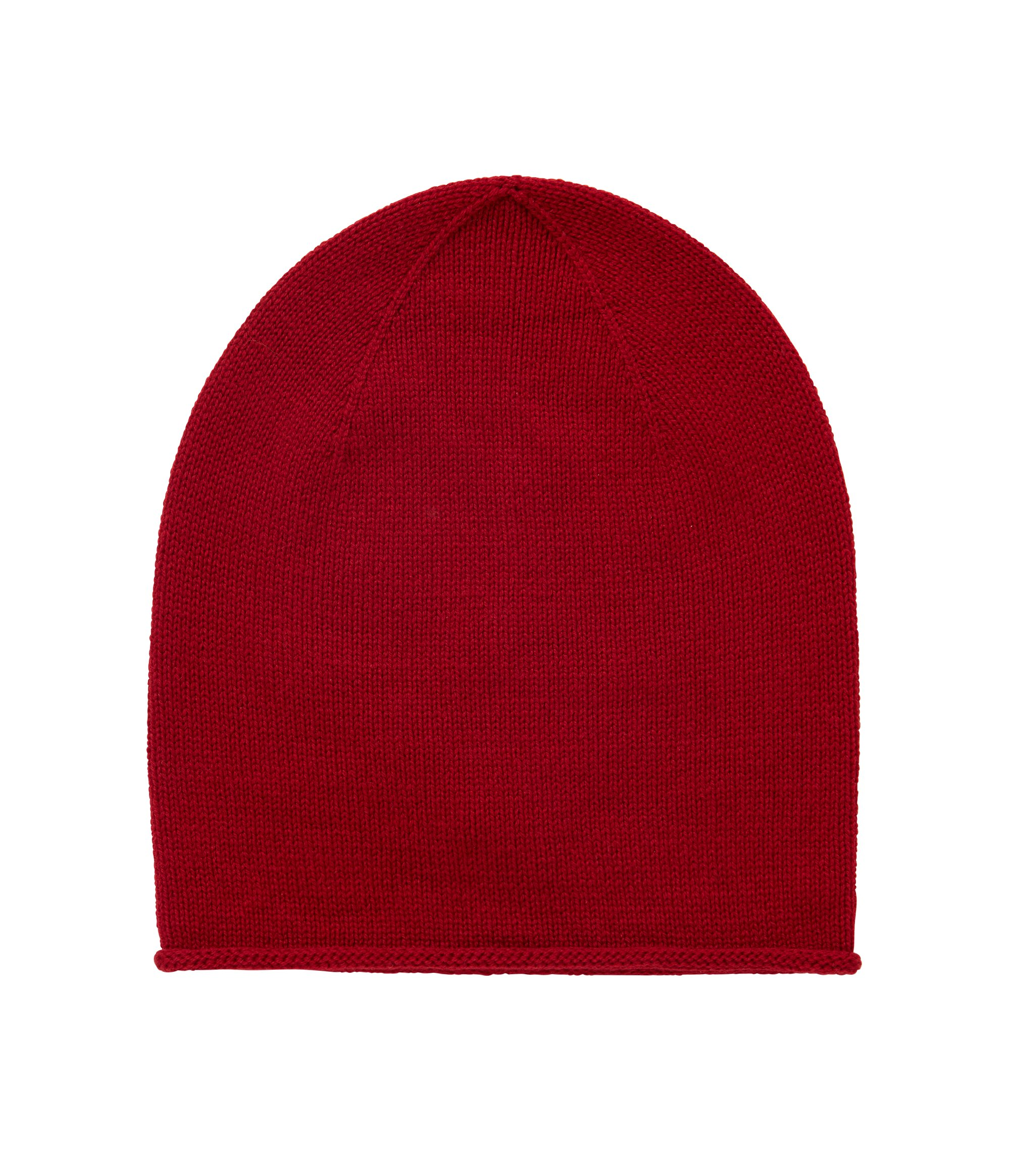 Beanie hat in mixed wools, Dark Red