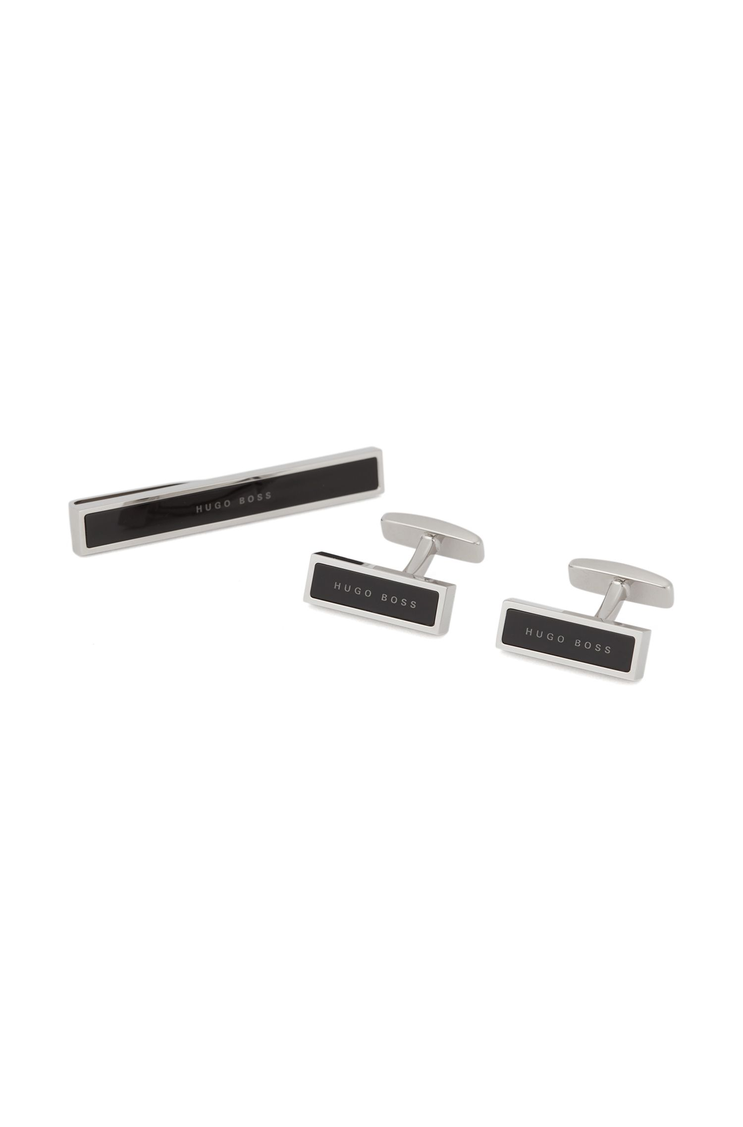 Cufflink and tie clip set with enamel core, Black
