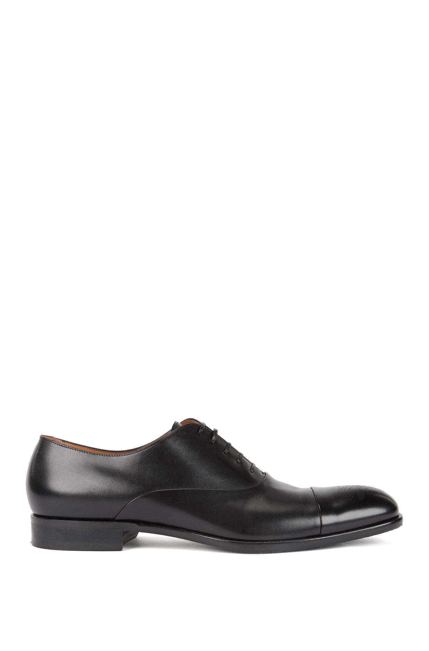 Burnished-leather Oxford shoes with laser-cut brogue pattern, Black