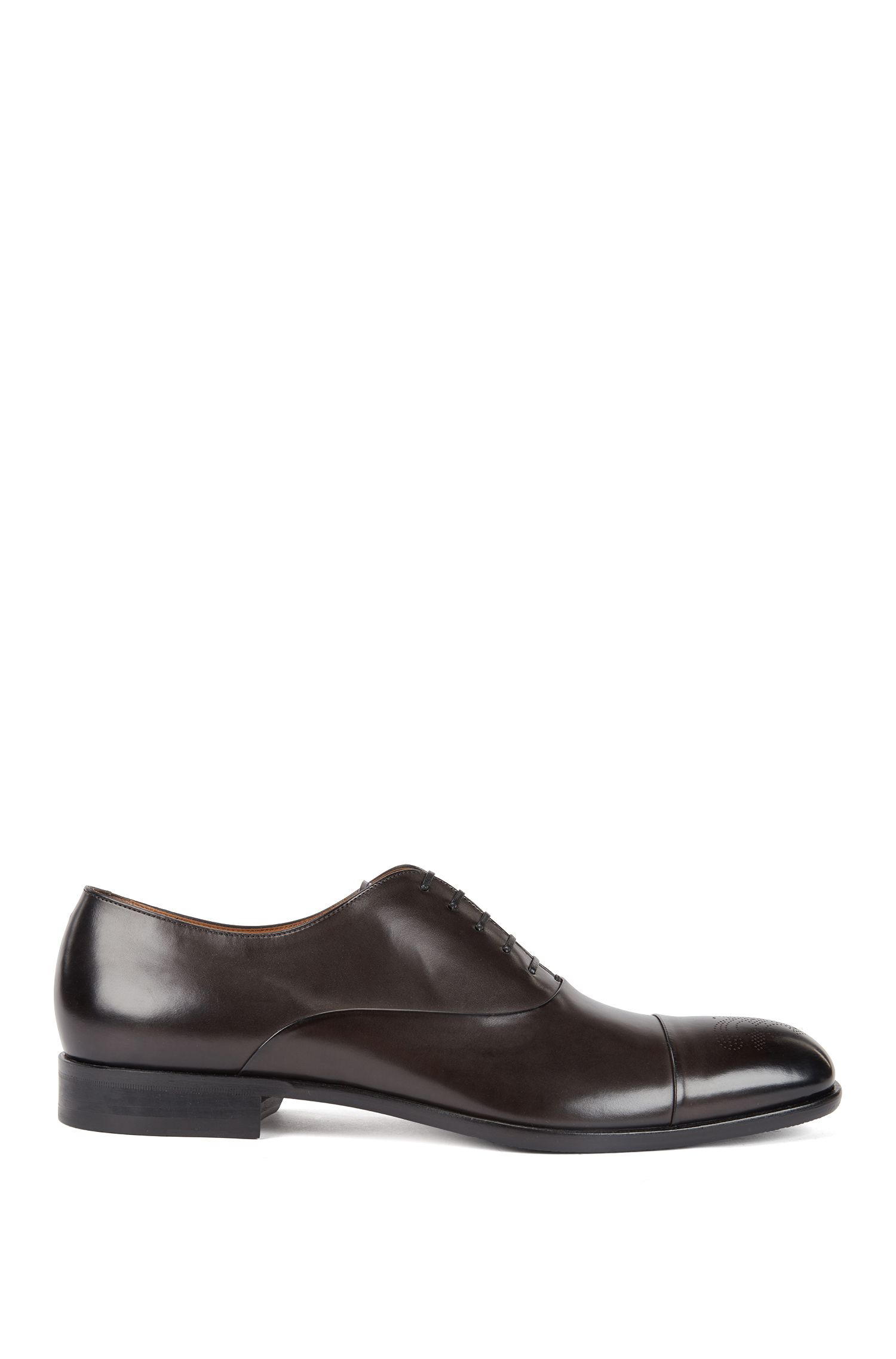 Burnished-leather Oxford shoes with laser-cut brogue pattern, Dark Grey