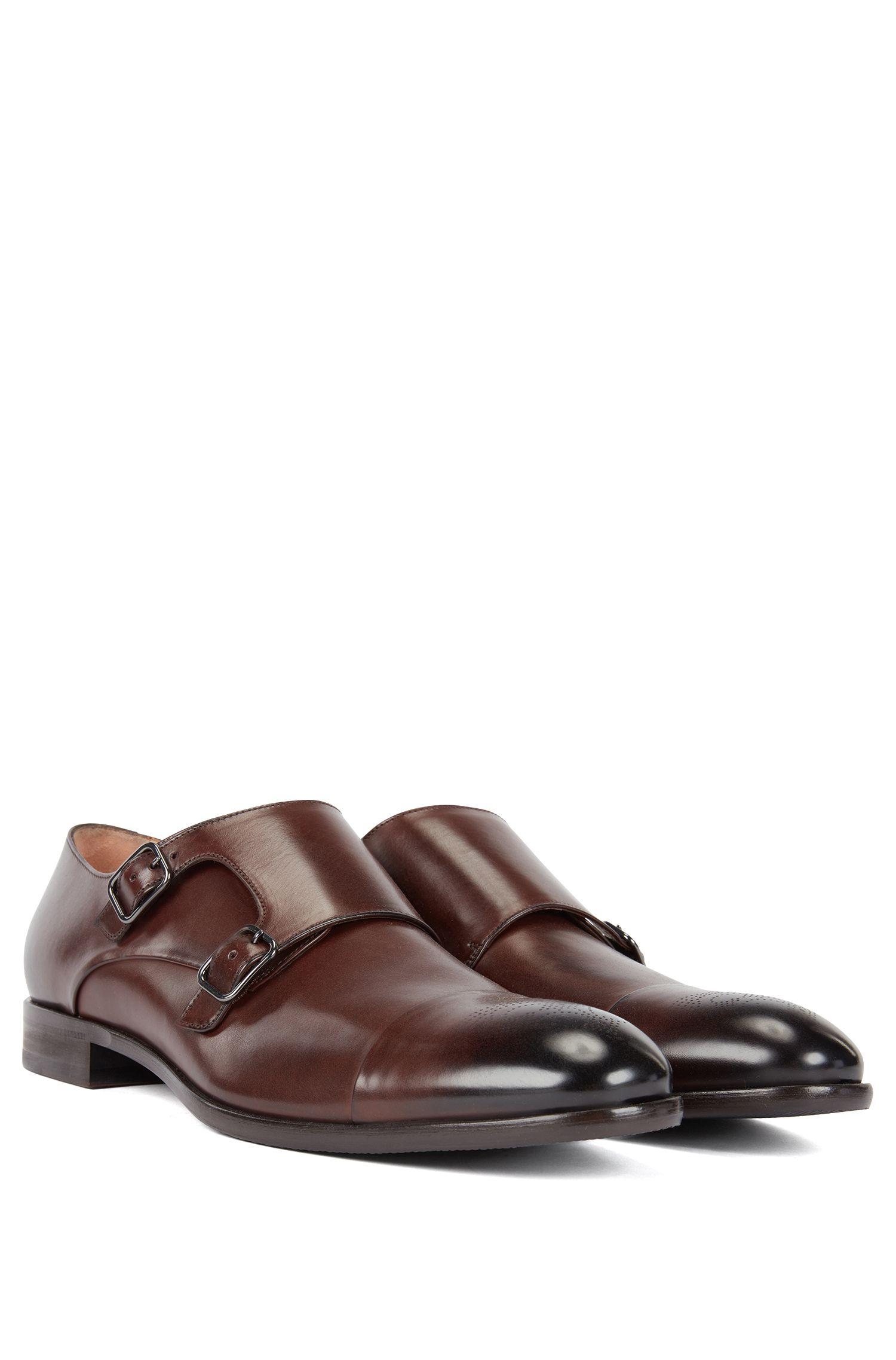 Zapatos de piel pulida con correa de hebilla doble, Marrón oscuro