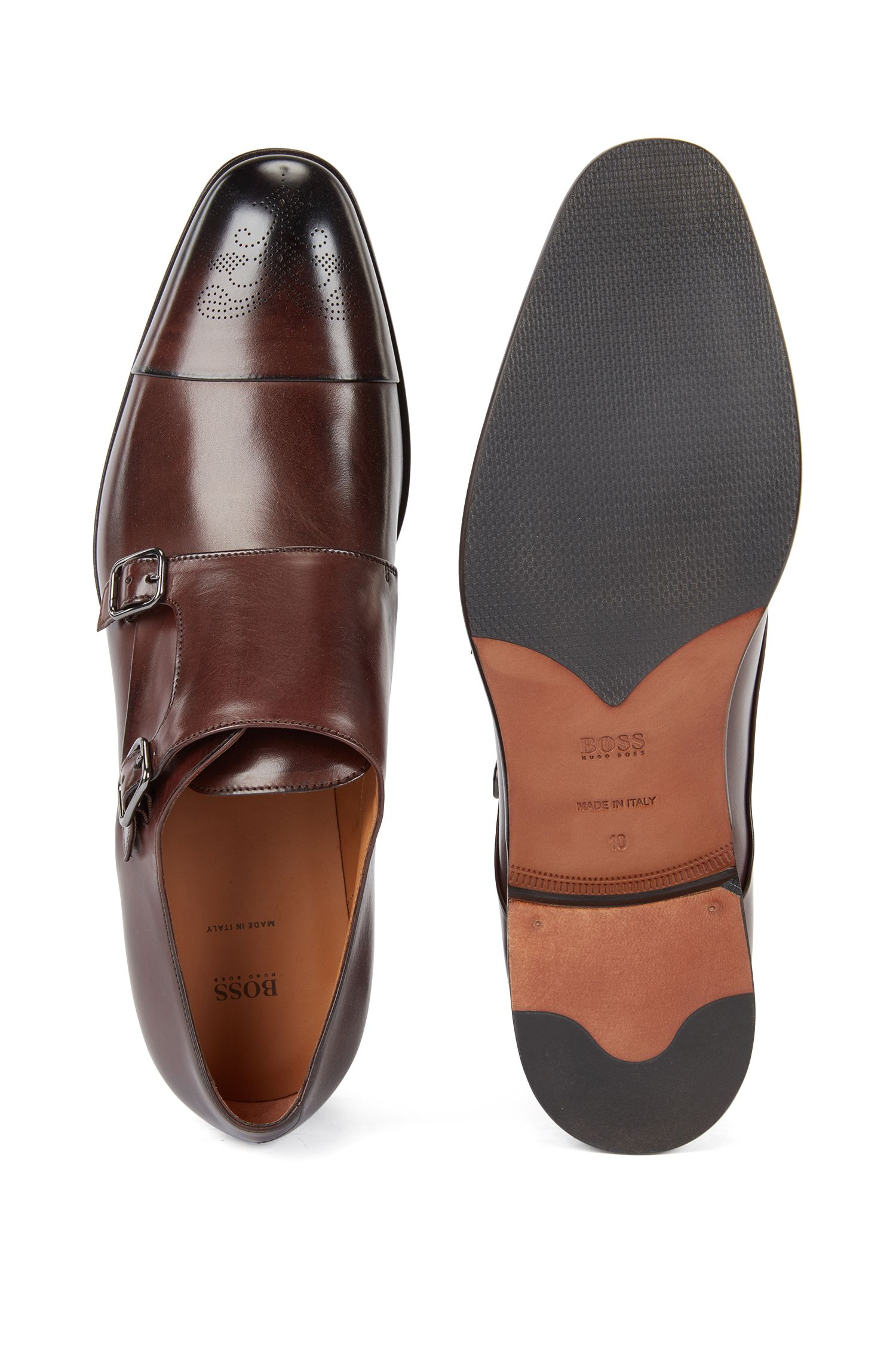 Burnished-leather shoes with double monk strap, Dark Brown