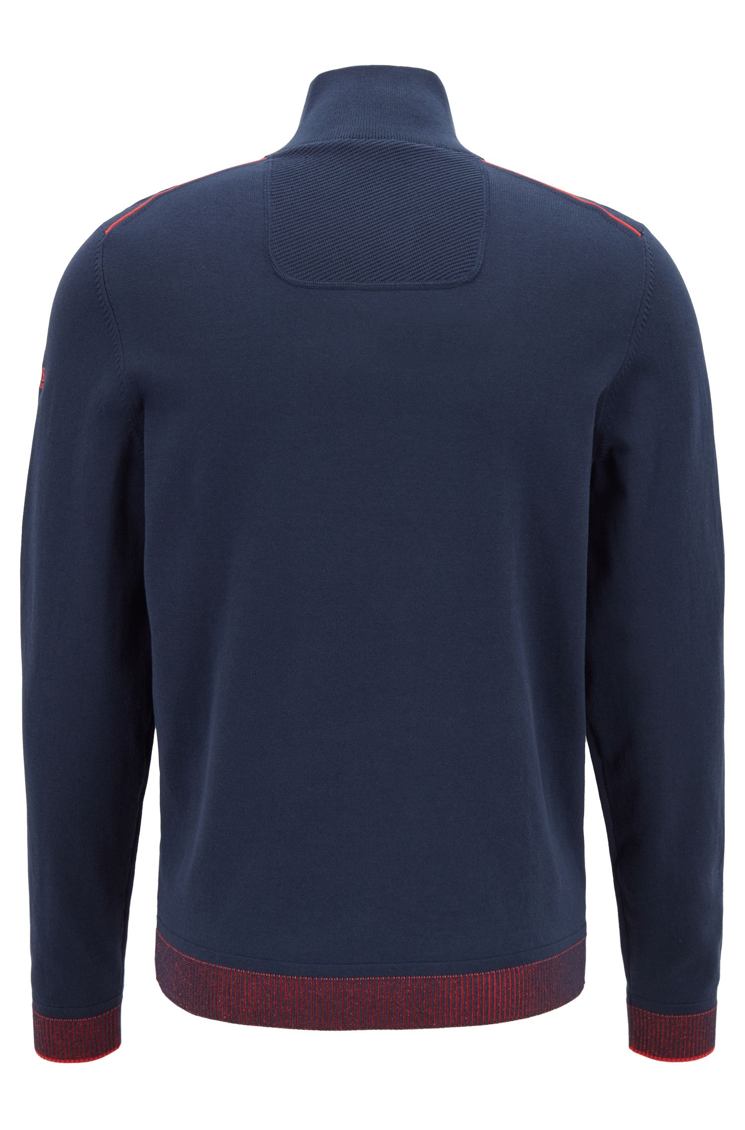 Zip-neck knitted sweater with piping details, Dark Blue