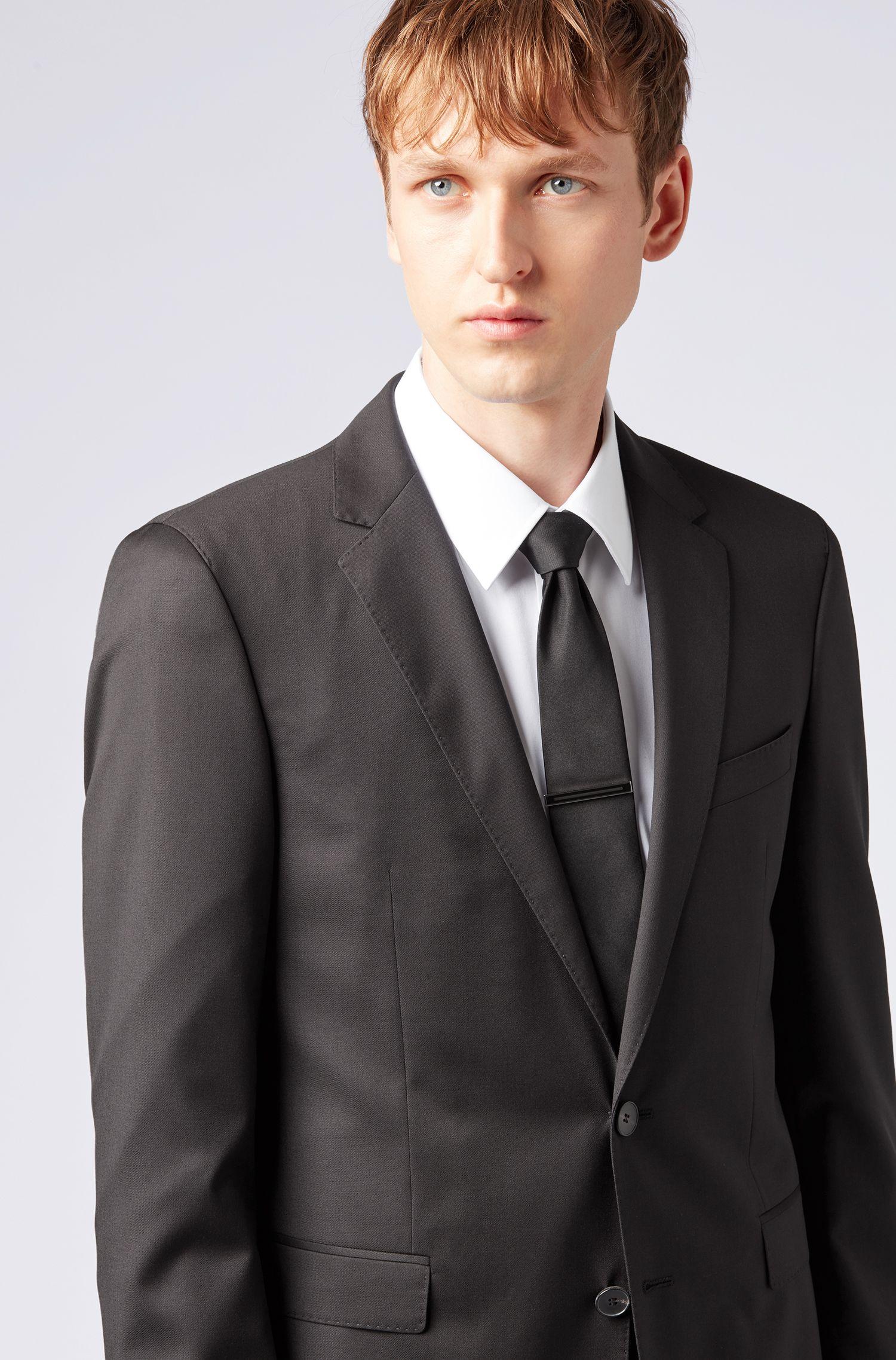 Pince à cravate polie à la main, en laiton à insert en émail, Noir