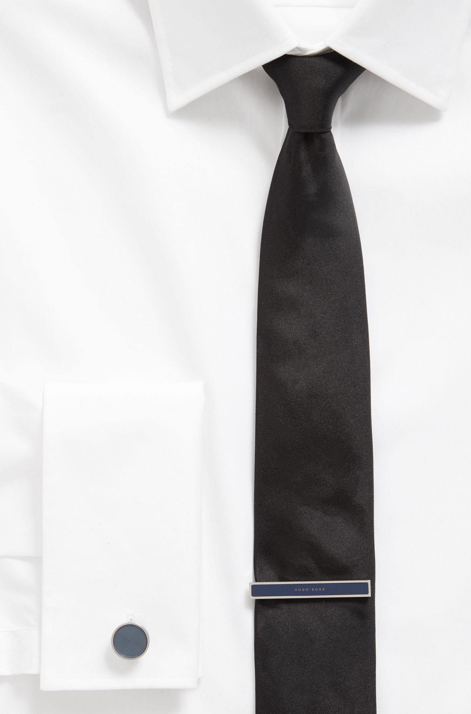 Épingle à cravate polie à la main avec insert en émail orné d'un logo, Bleu foncé