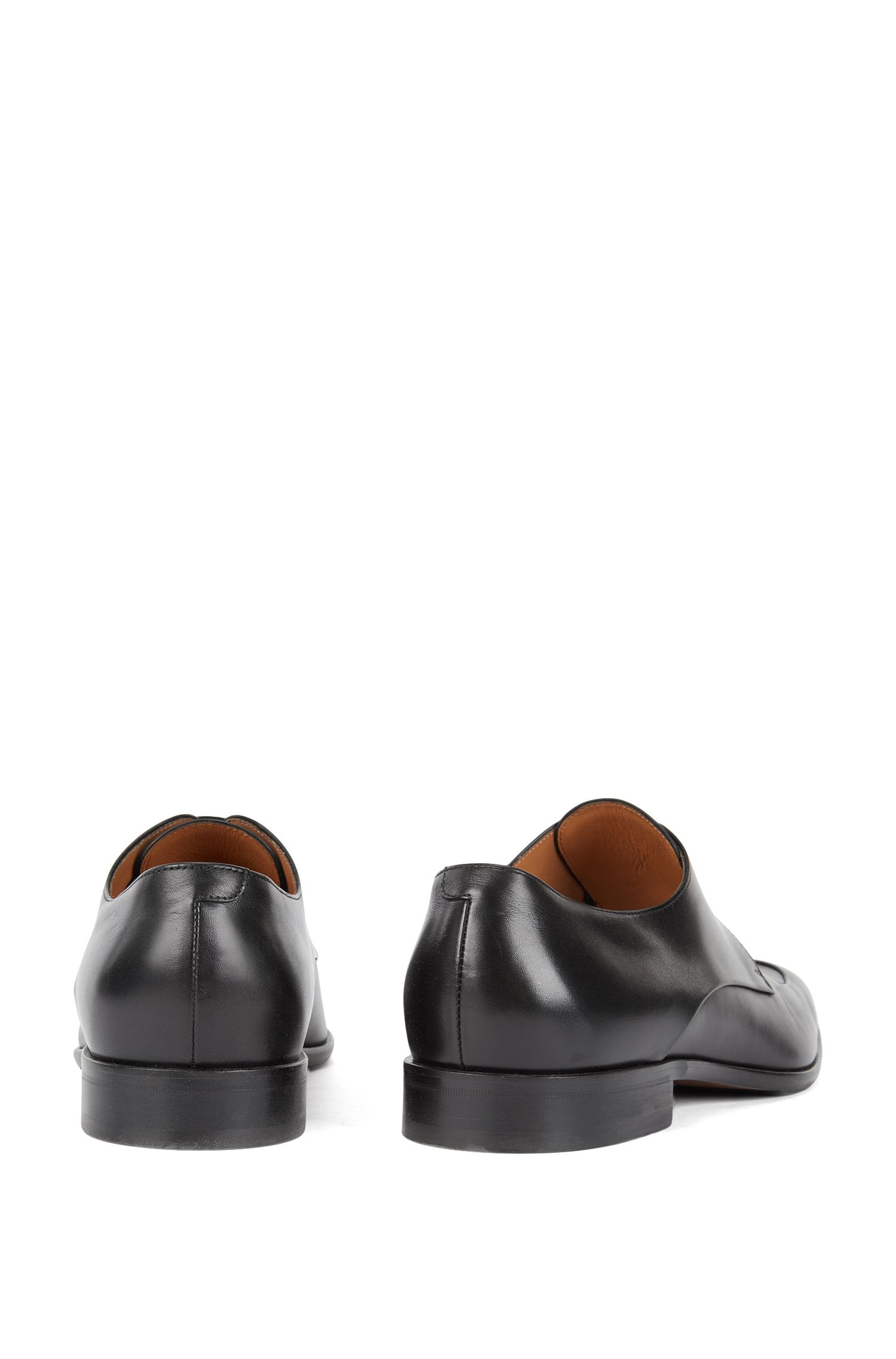 Italian-made Derby shoes in burnished calf leather , Black