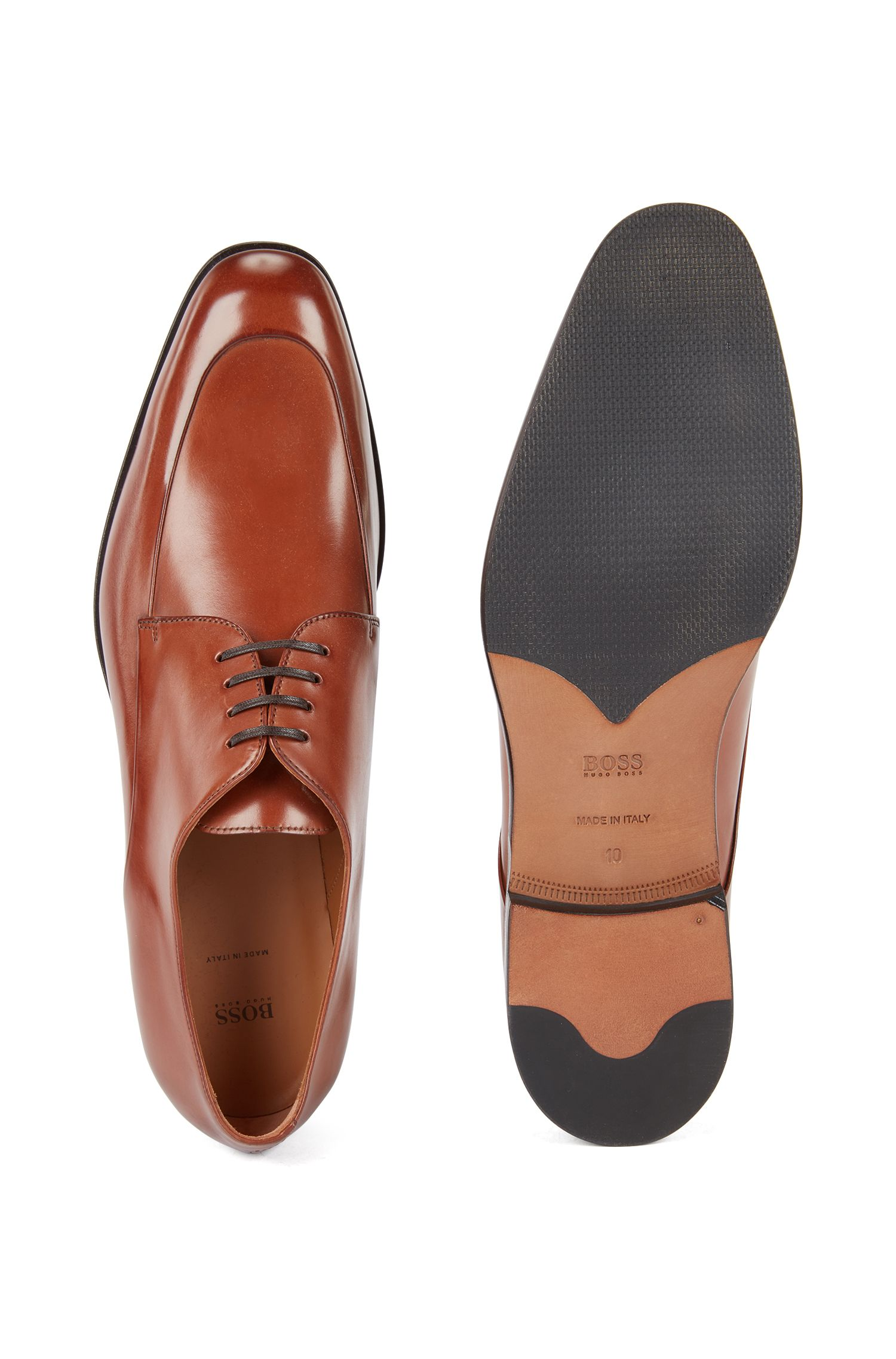 Italian-made Derby shoes in burnished calf leather , Brown
