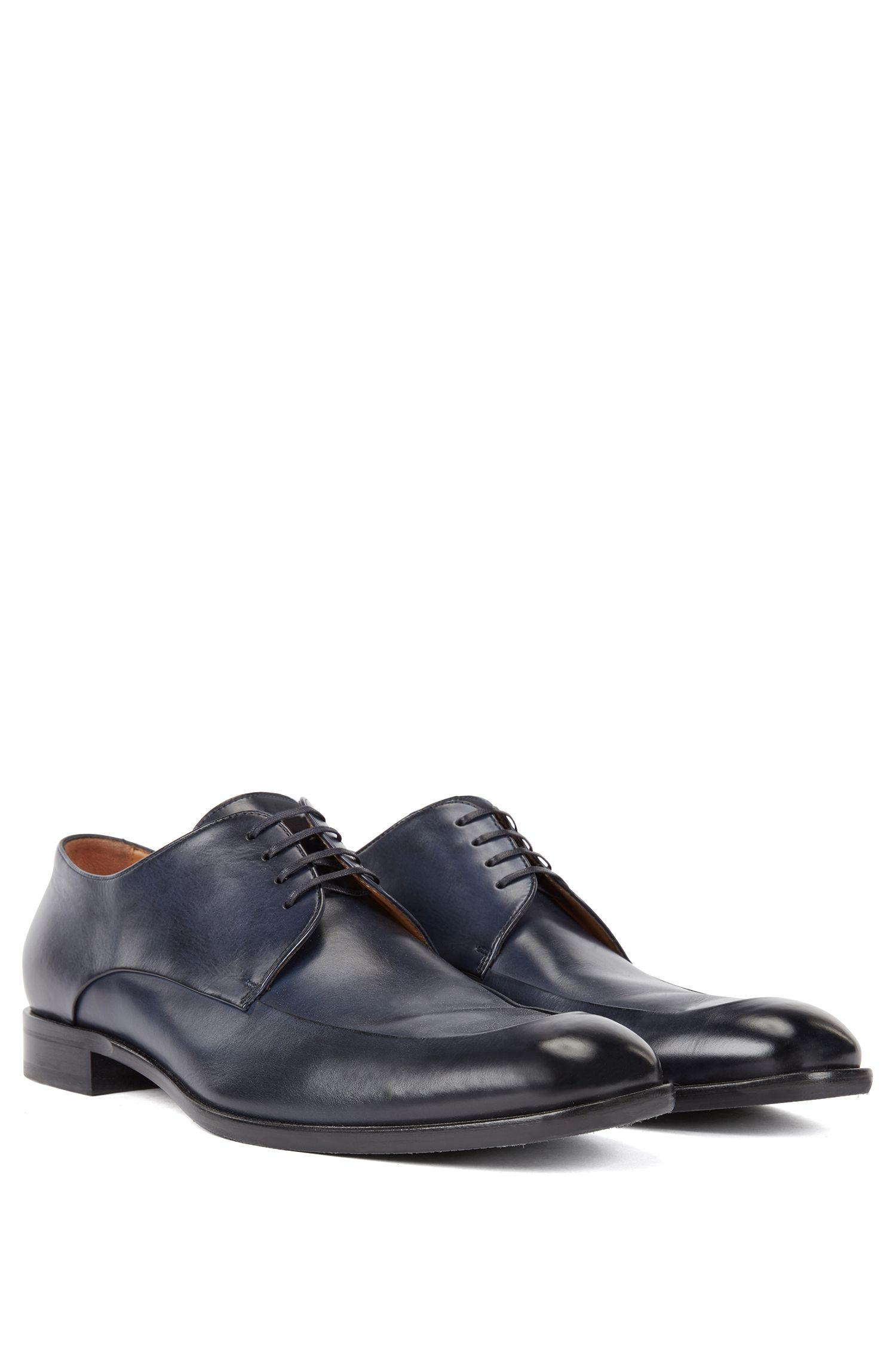 Italian-made Derby shoes in burnished calf leather , Dark Blue