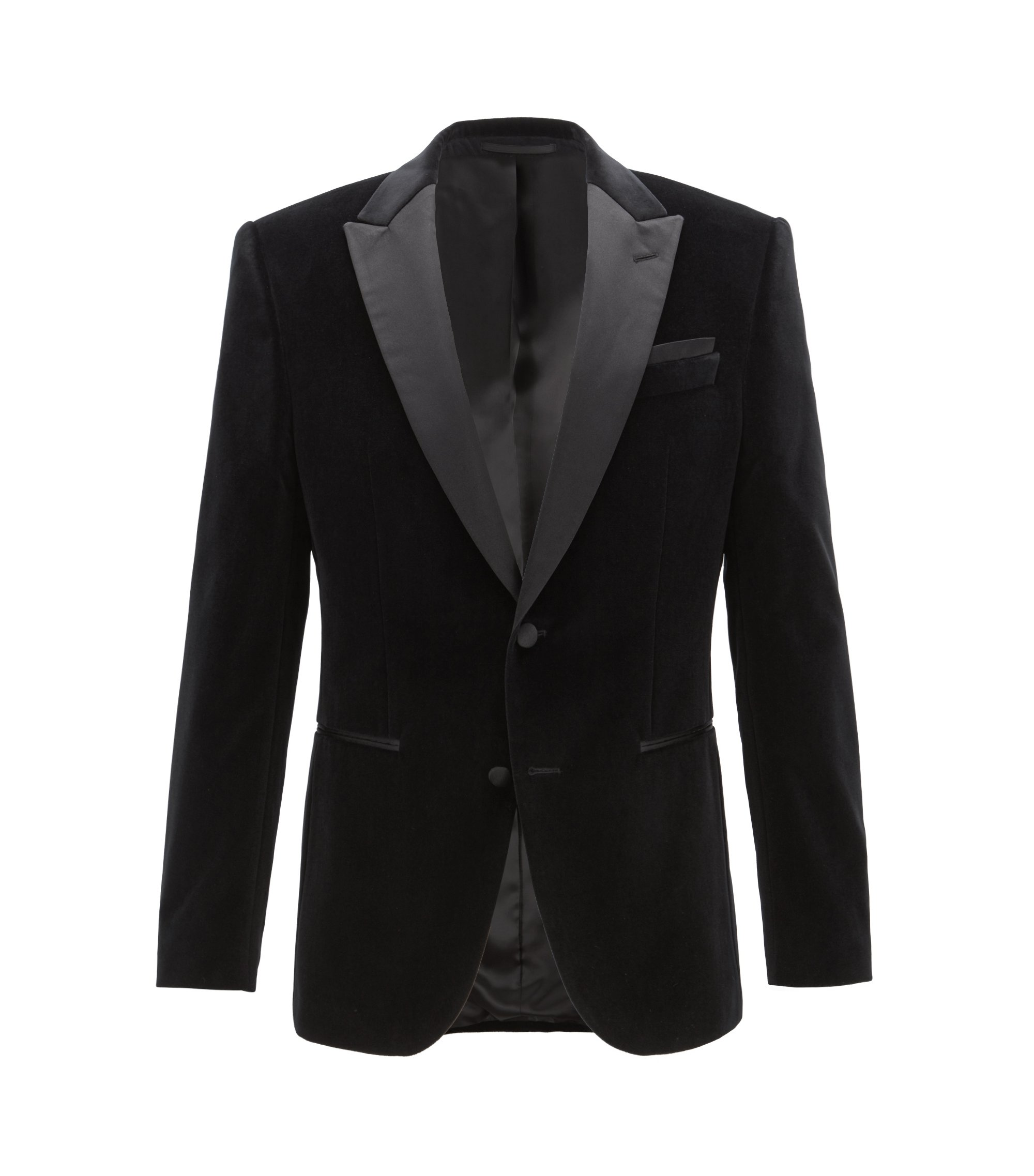 Slim-fit jacket in velvet with contrast silk lapels, Black