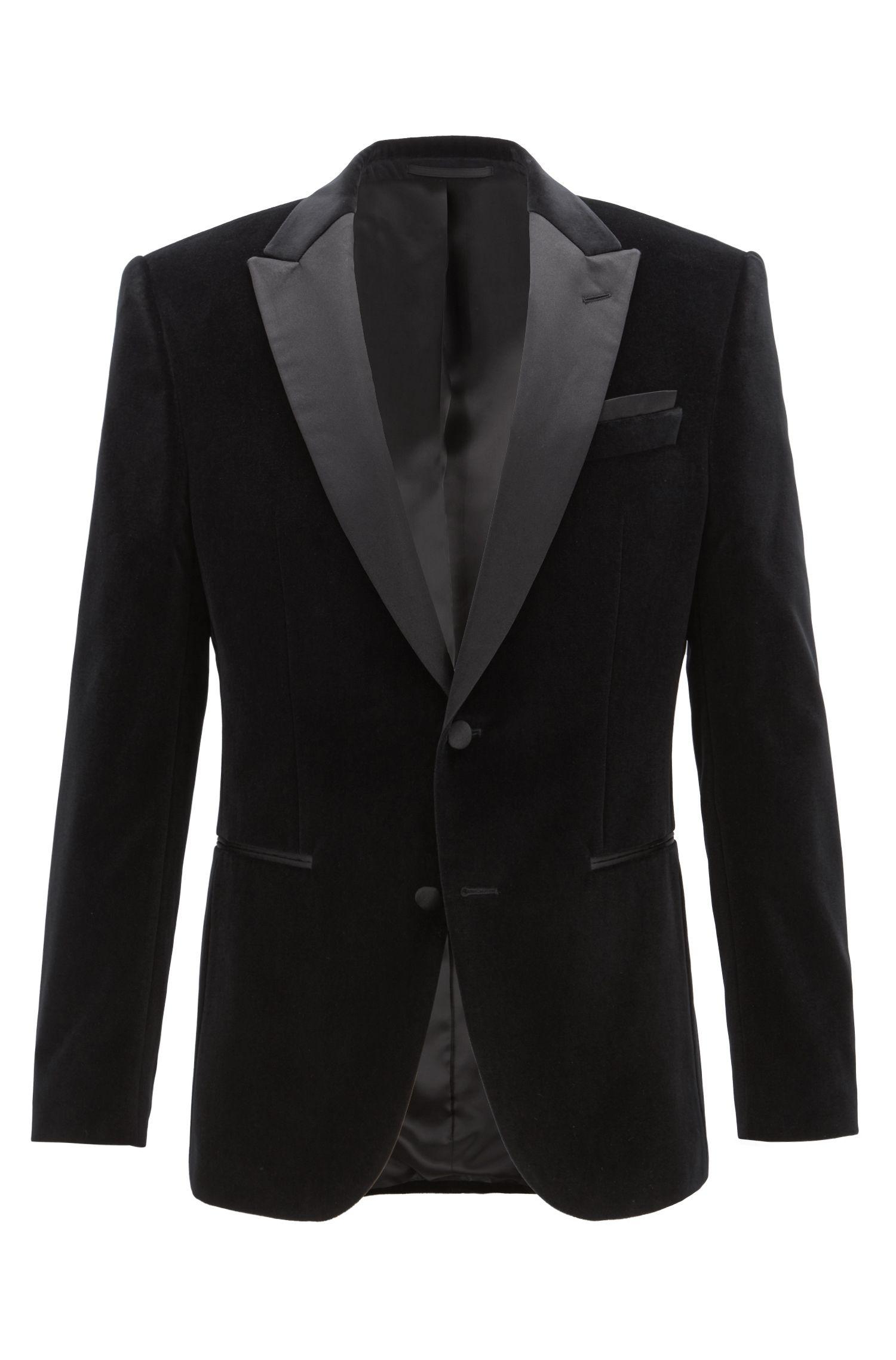 Giacca slim fit in velluto con revers in seta a contrasto, Nero