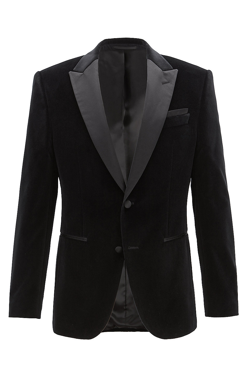 Slim Fit Jacket In Velvet With Contrast Silk Lapels by Boss