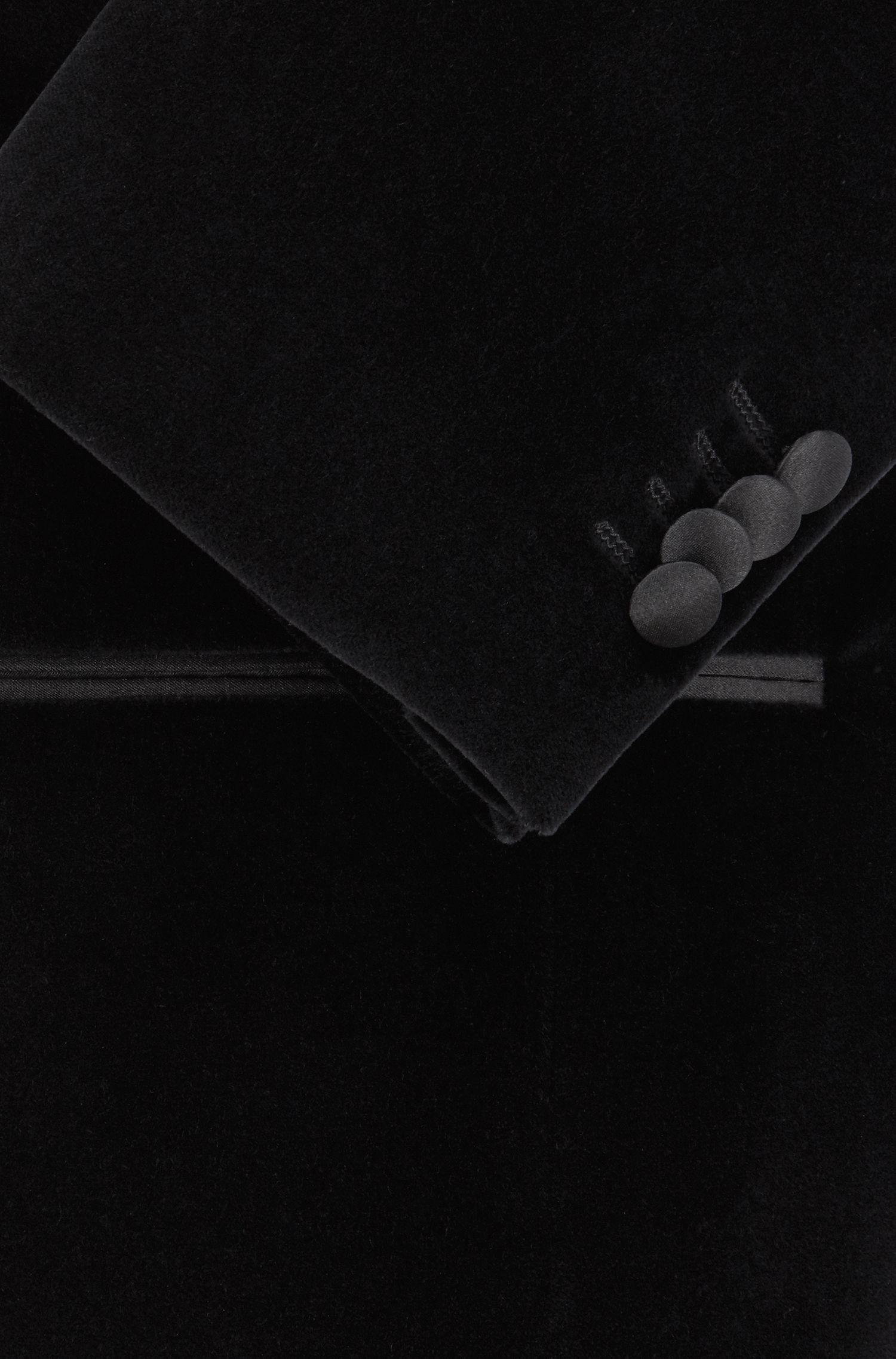 Slim-Fit Smokingjacke aus Samt mit kontrastfarbenem Seiden-Revers, Schwarz