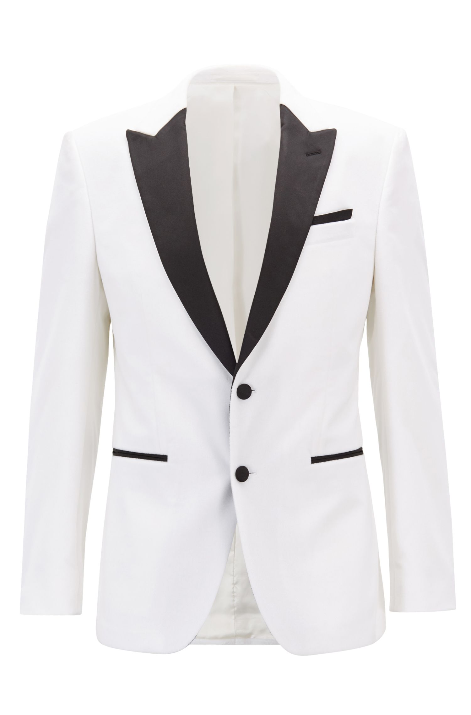 Slim-fit jacket in velvet with contrast silk lapels, Natural