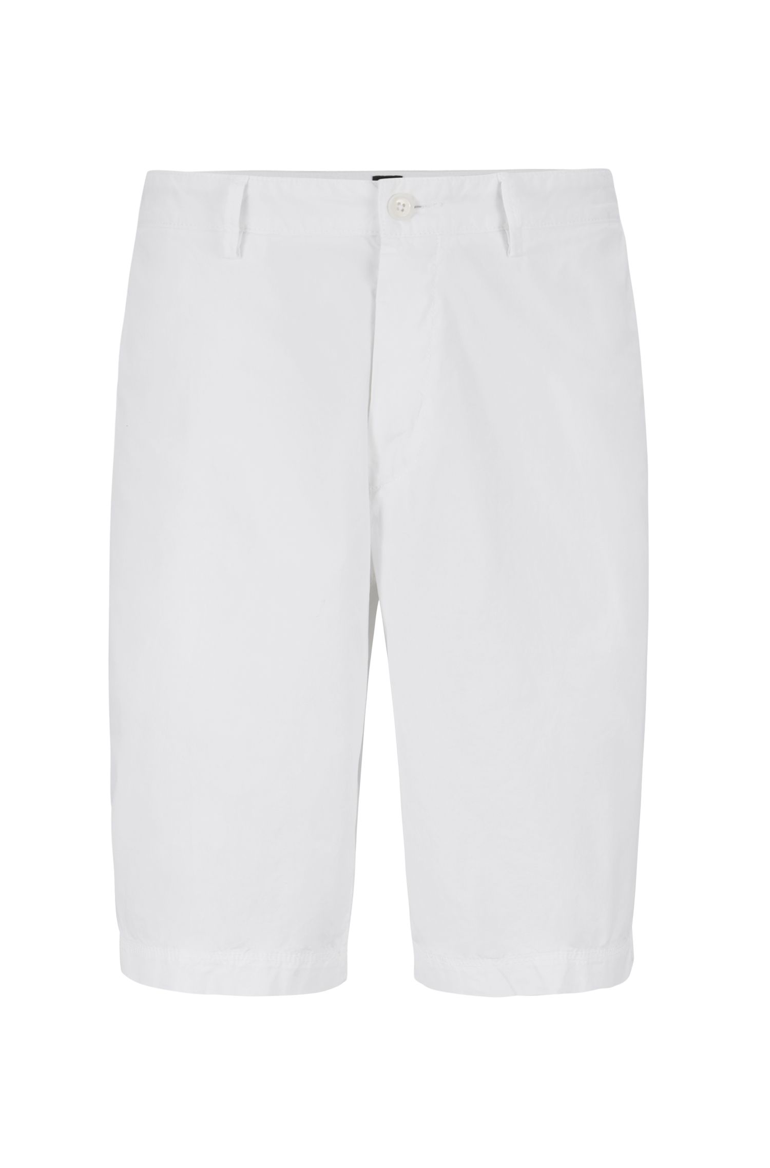 Shorts regular fit en sarga de algodón elástico italiano, Blanco